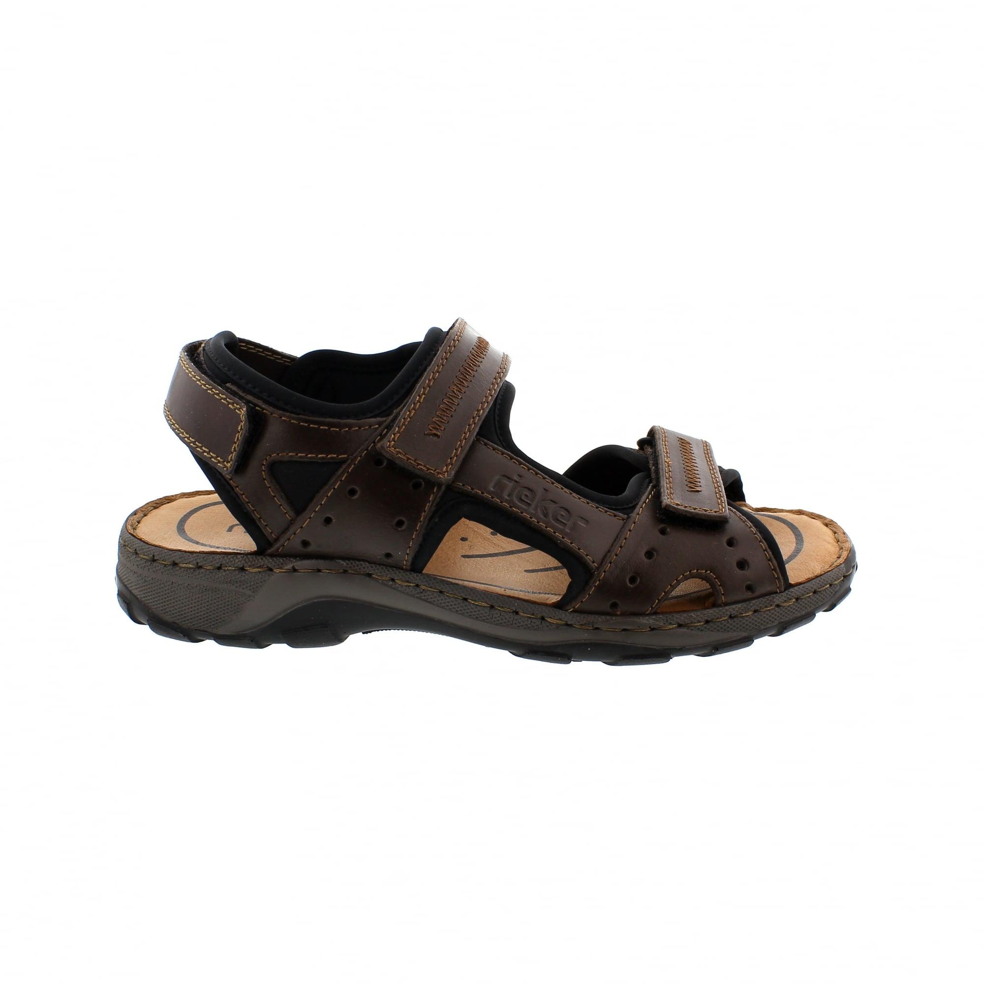18f8d22550cf Rieker 26061-25 Brown Leather Mens Walking Sandals