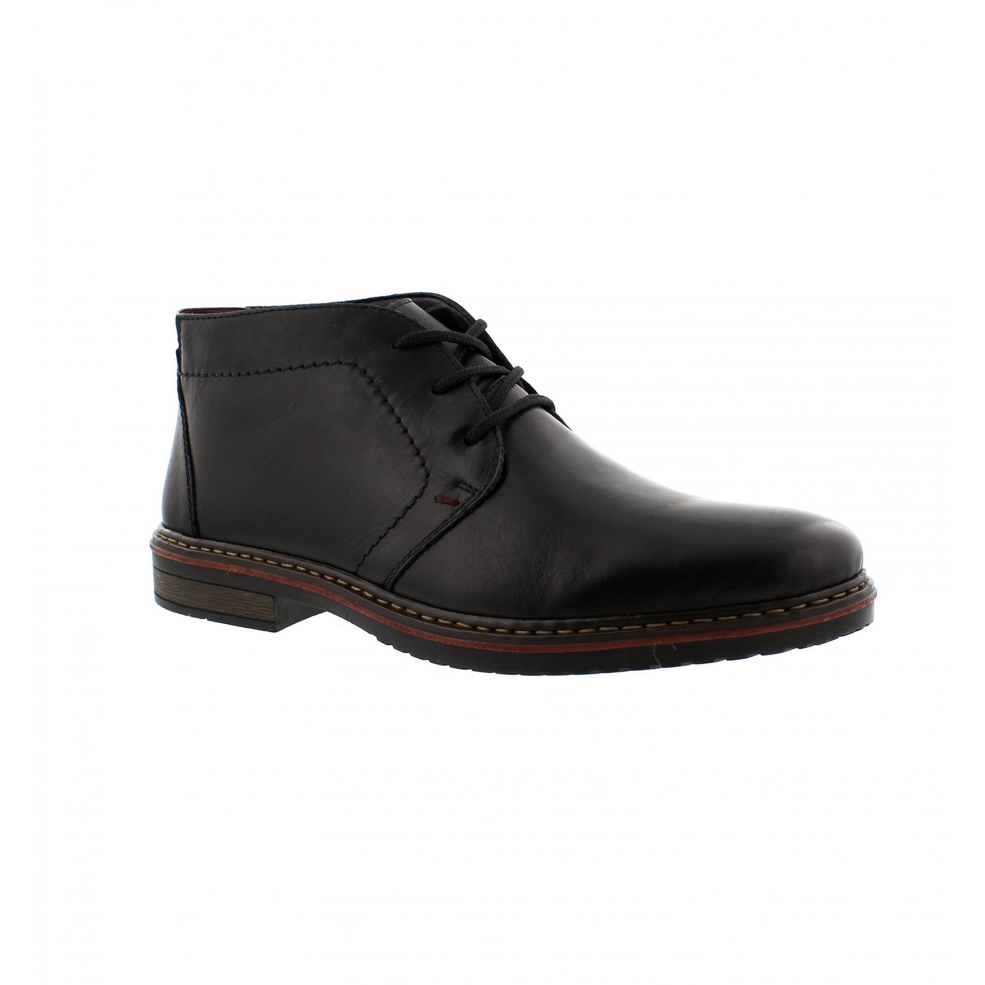 084429ac4d113 Rieker 30423-01 Black Leather Mens Ankle Boots | Rogerson Shoes