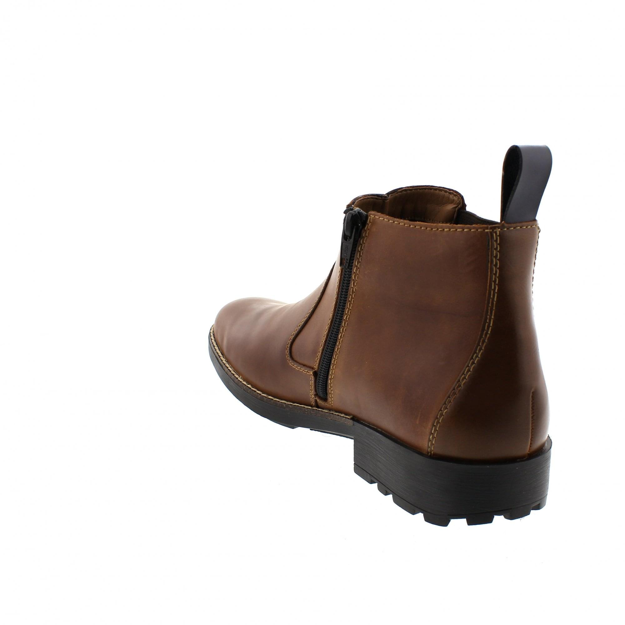 Rieker 36062-25 Mens Leather Warm Side Zip Casual Ankle Chelsea Boots Brown