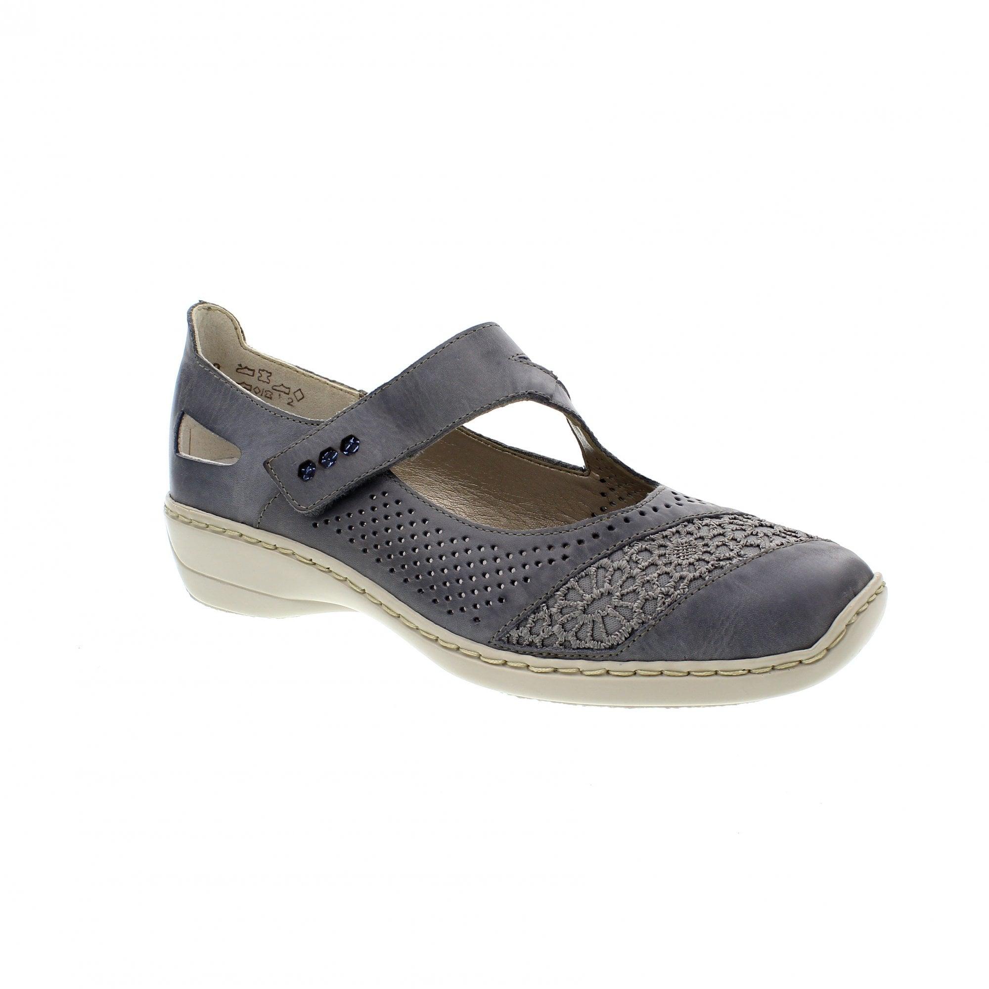99c00796ed Rieker 41346-12 Denim Leather Womens Mary Jane Bar Shoes