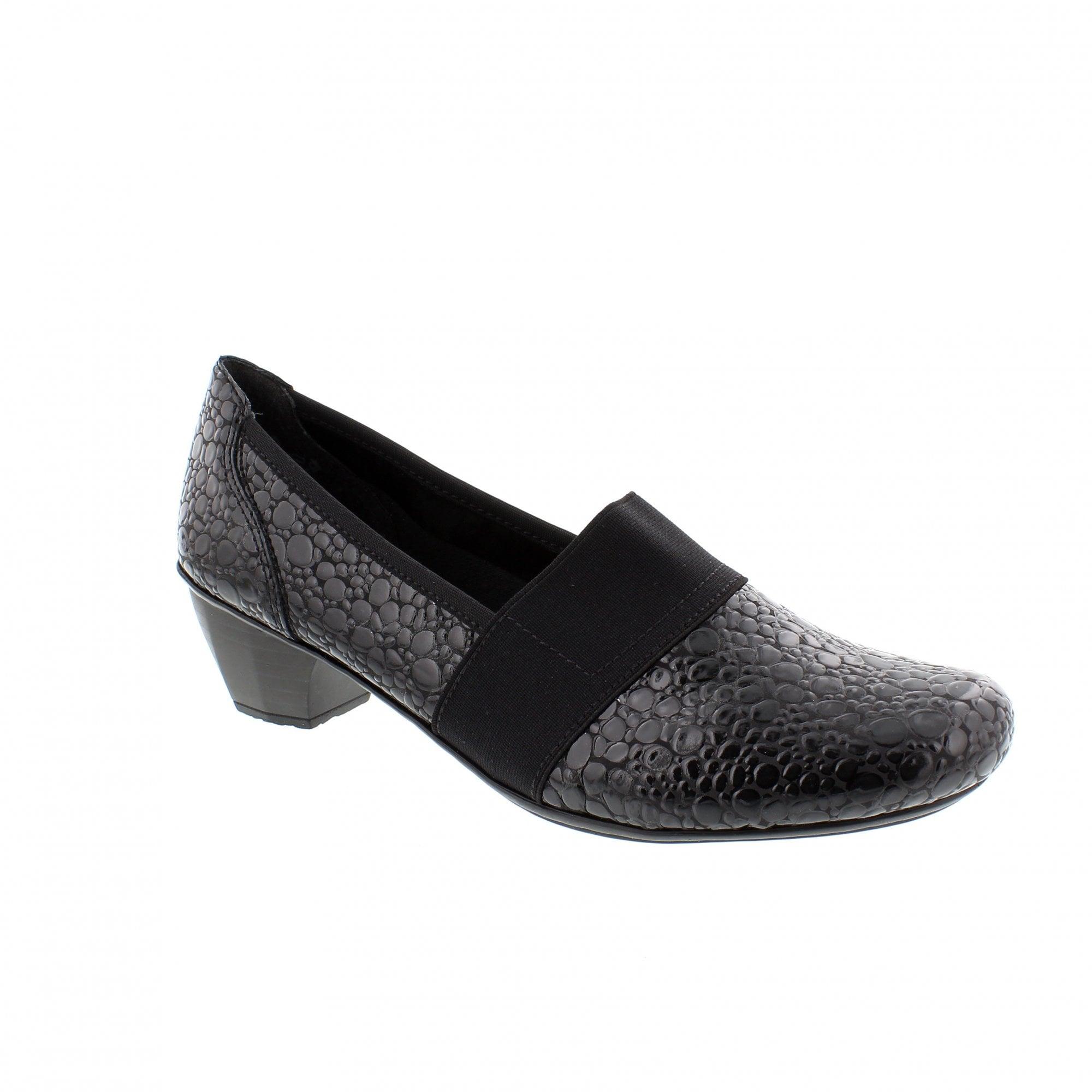 cc60ddb9f052 Rieker 41786-45 Black Patent Croc Womens Slip On Shoes
