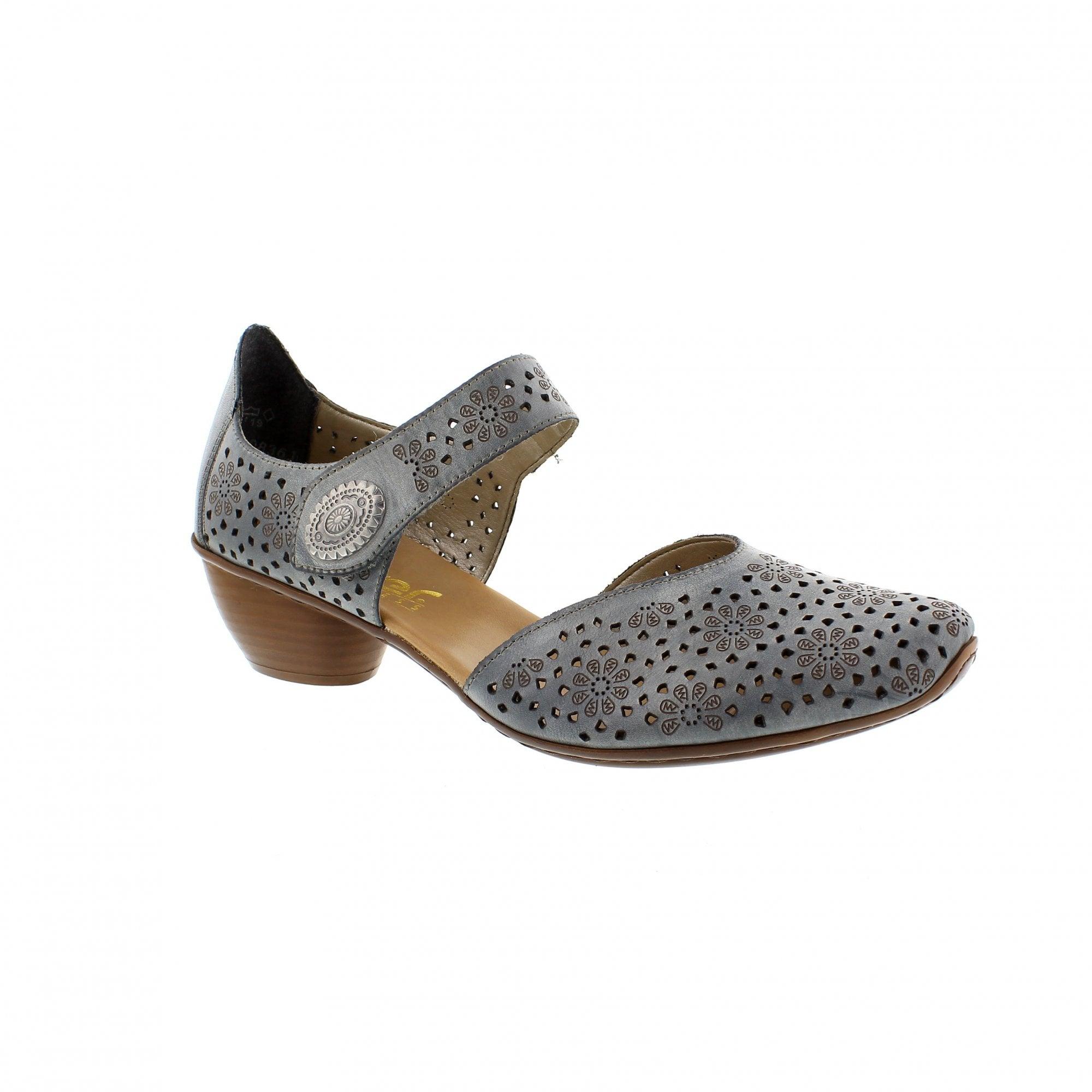32b19cf956 Rieker 43711-12 Denim Womens Mary Jane Bar Shoes