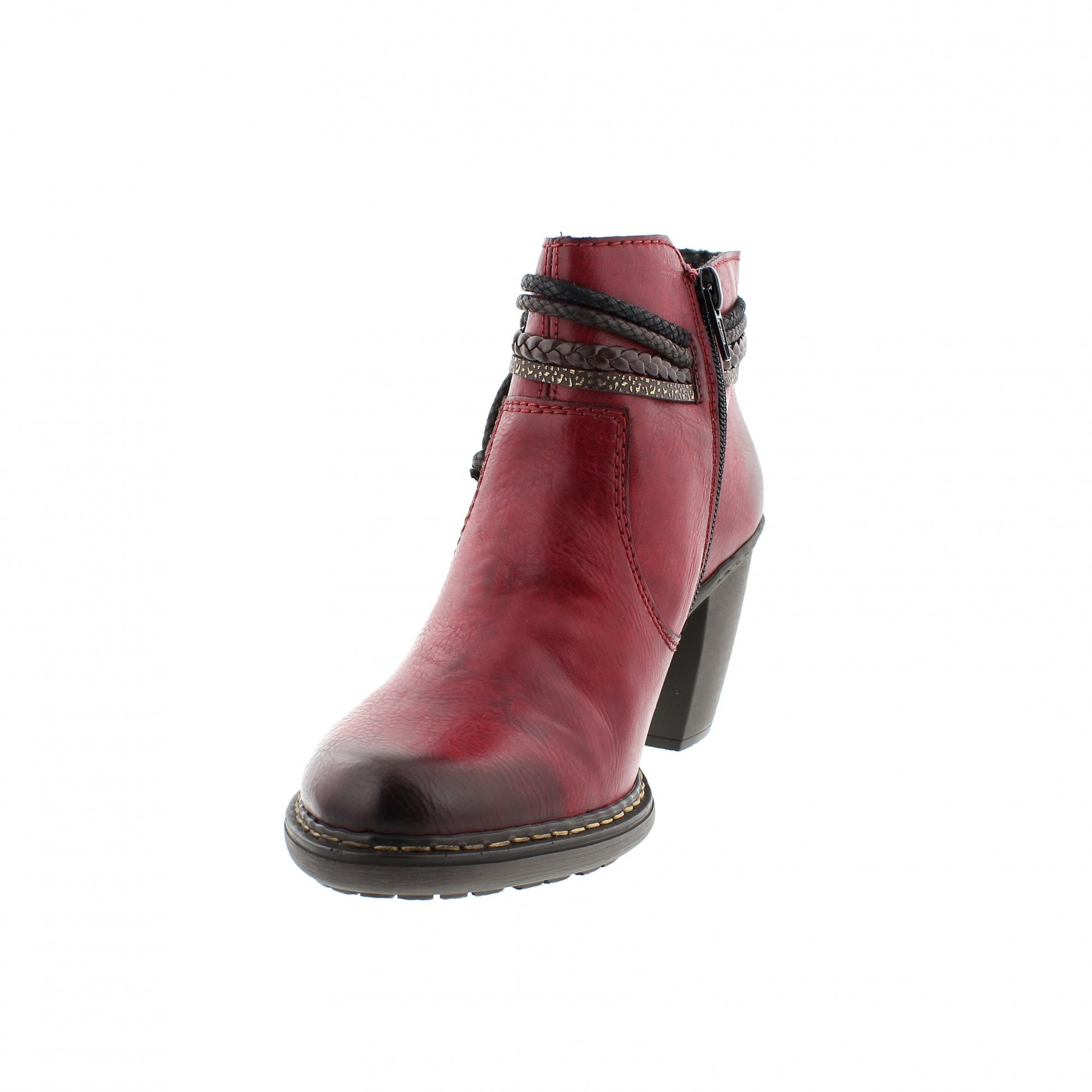 ca36908070f1 Rieker 55298-35 Burgundy Womens Ankle Boots