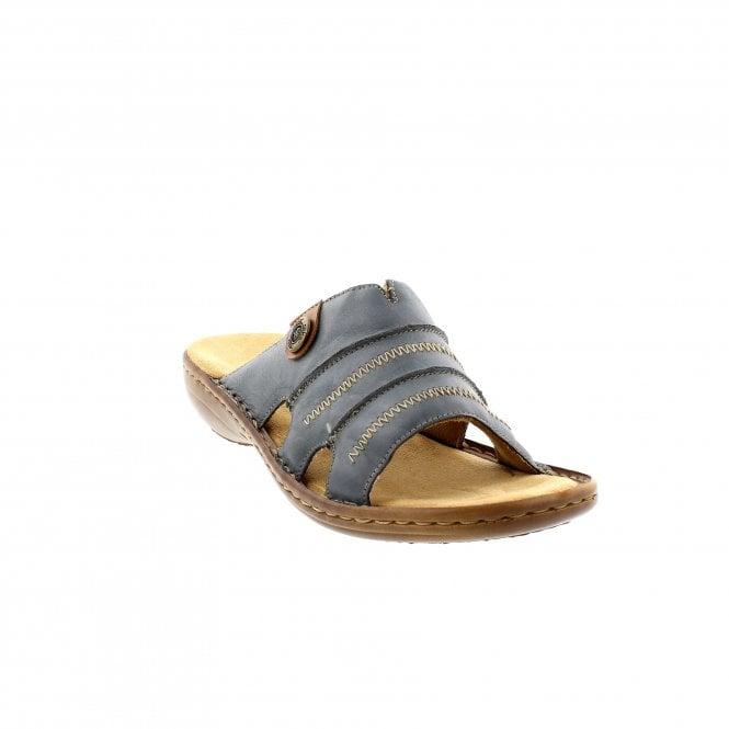 Gutscheincodes suche nach dem besten 60% günstig Rieker 60876-12 Denim Leather Womens Mule Sandals | Rogerson Shoes