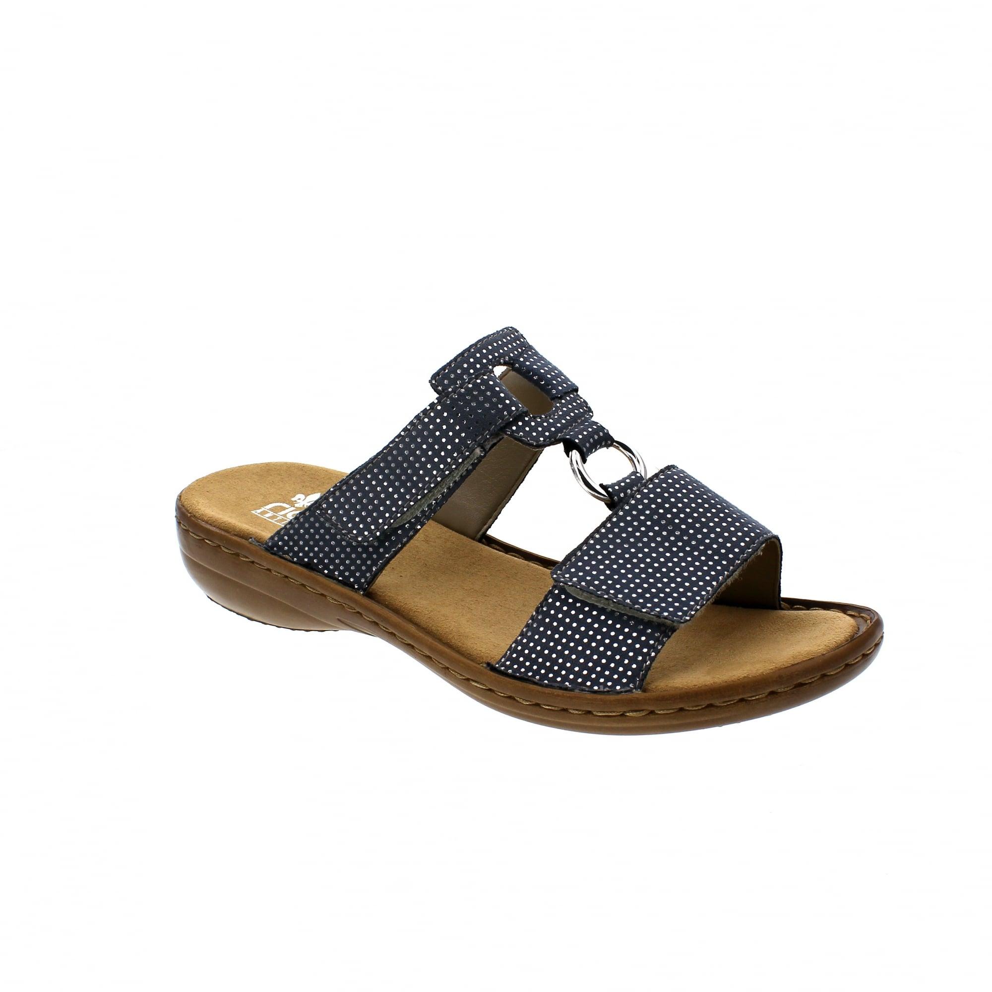 7e0f6c3e9a5 Rieker 608P9-12 Denim Silver Womens Mule Sandals