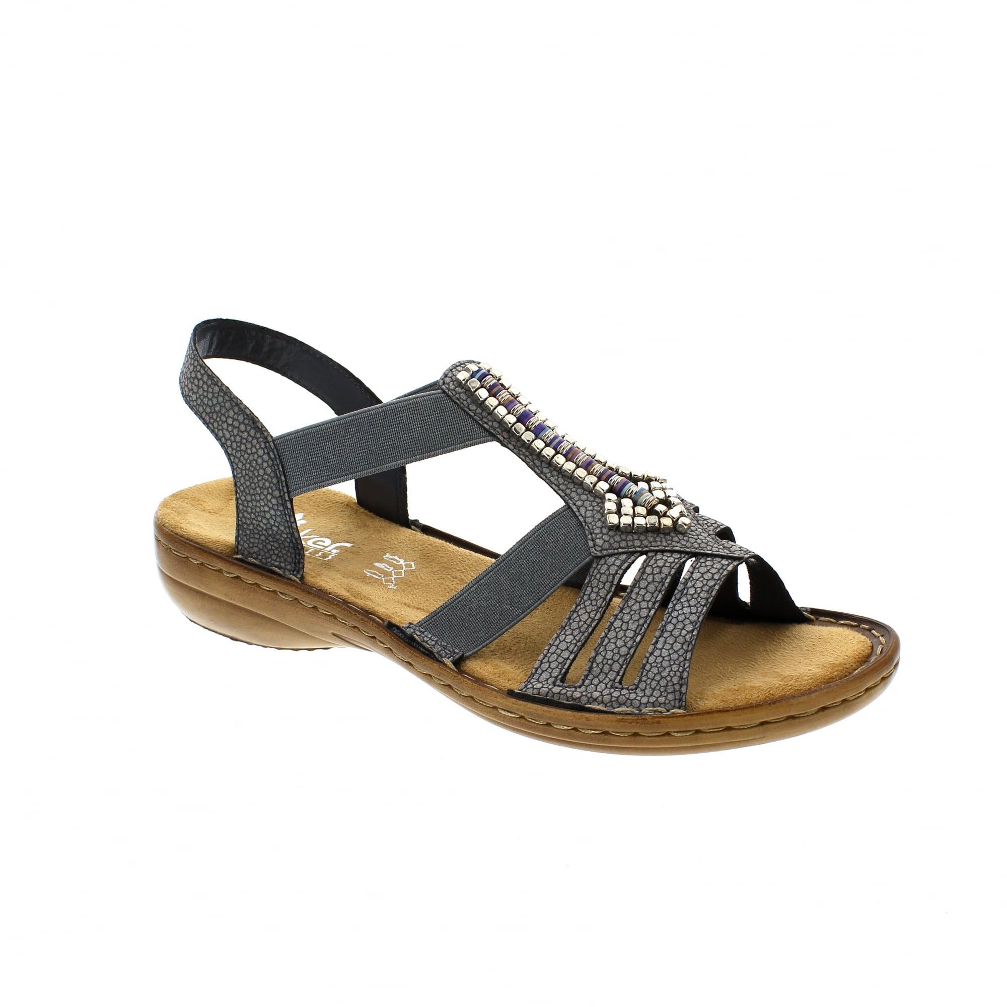 a9638ba3c65 Rieker 608S1-42 Grey Print Womens Sandals | Rogerson Shoes