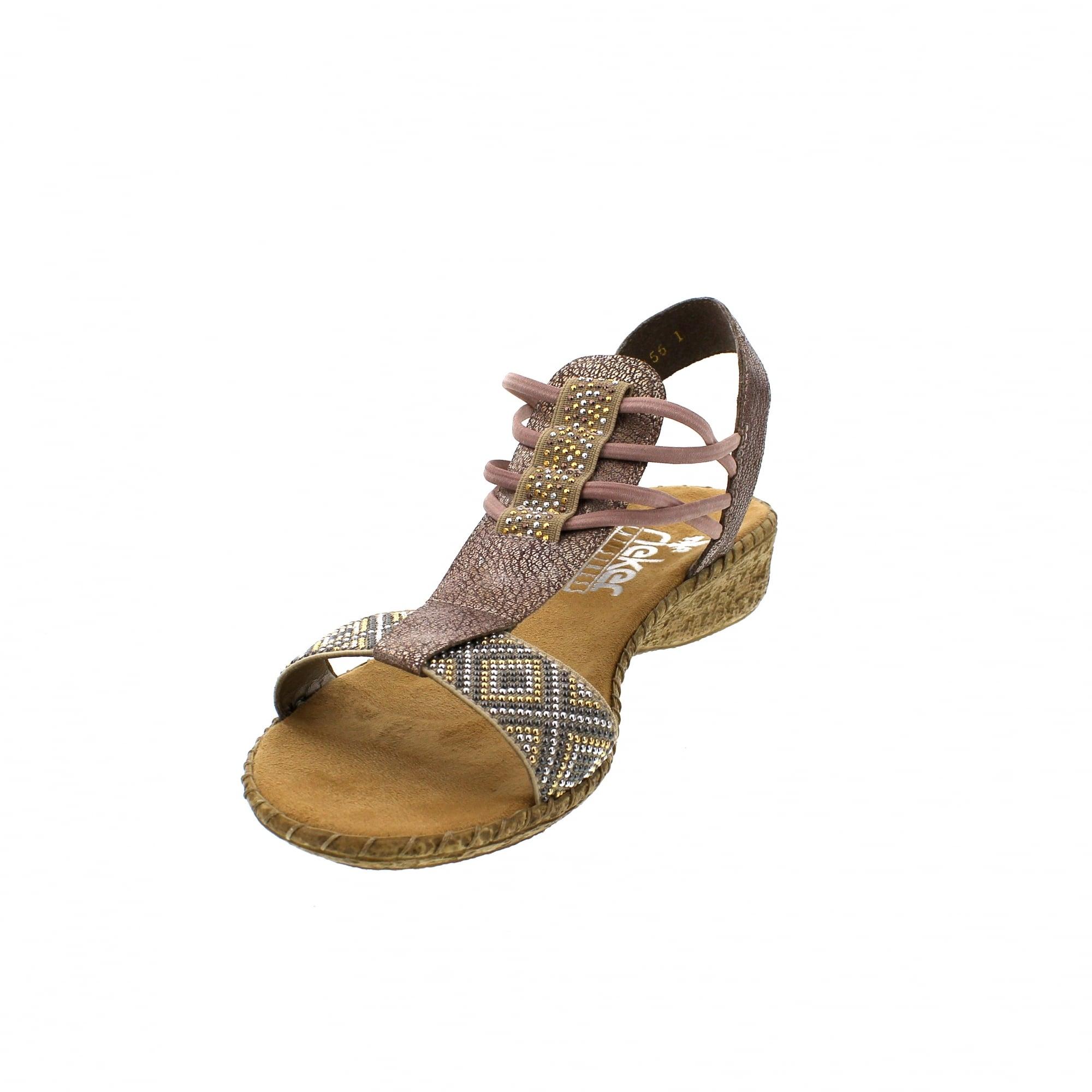 44c85af6cb Rieker 61662-60 Rose Metallic Womens Sandals