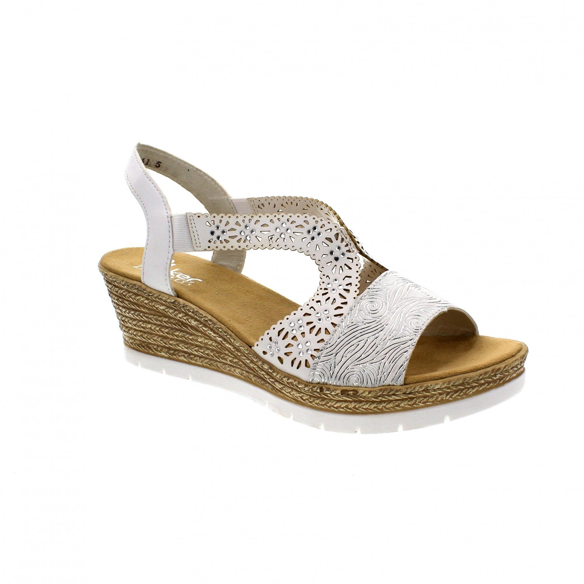 d36c0c0d9 Rieker 61916-80 White/Silver Womens Wedge Sandals | Rogerson Shoes