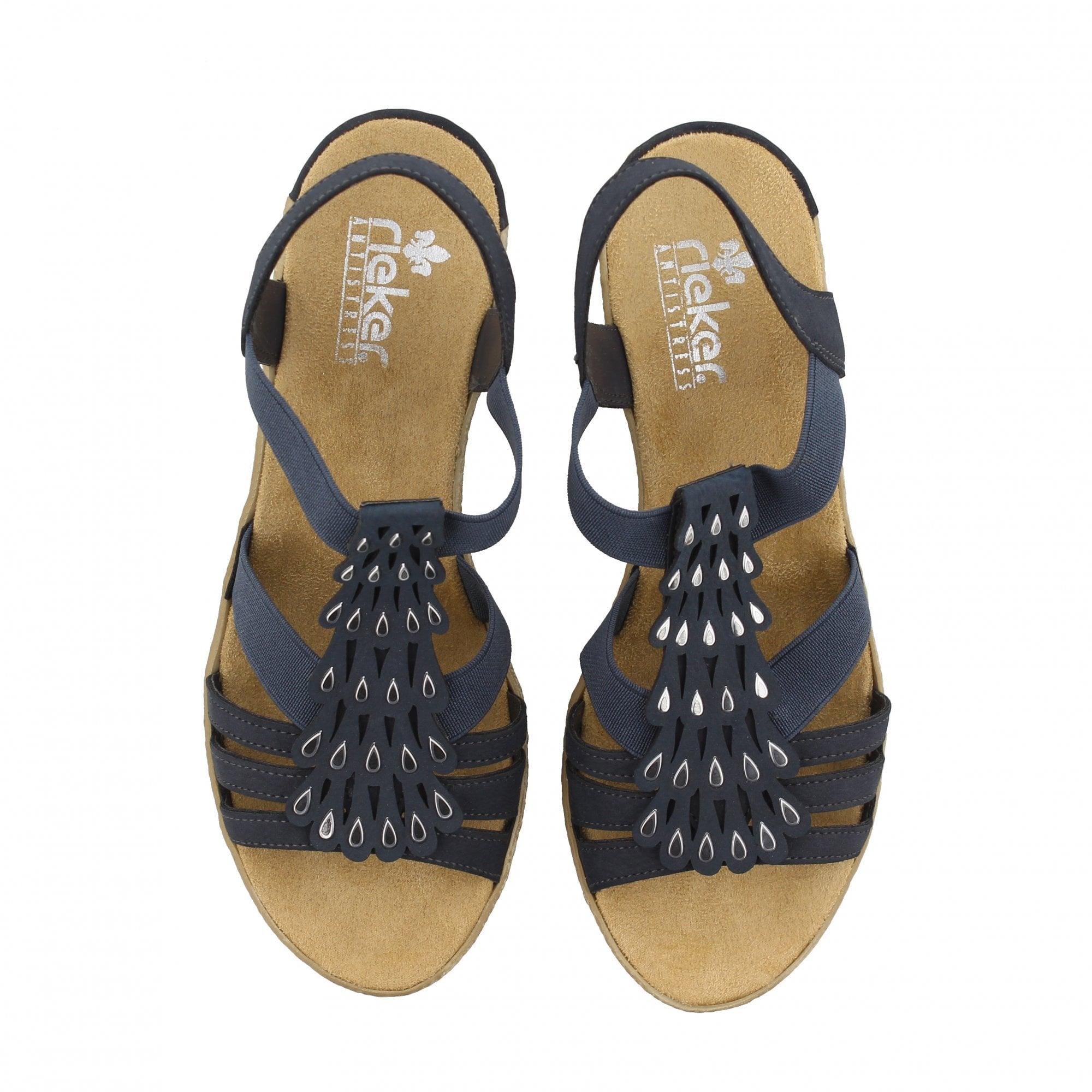 72b5311bd35d Rieker 62436-14 Espadrilles Navy Silver Womens Sandals