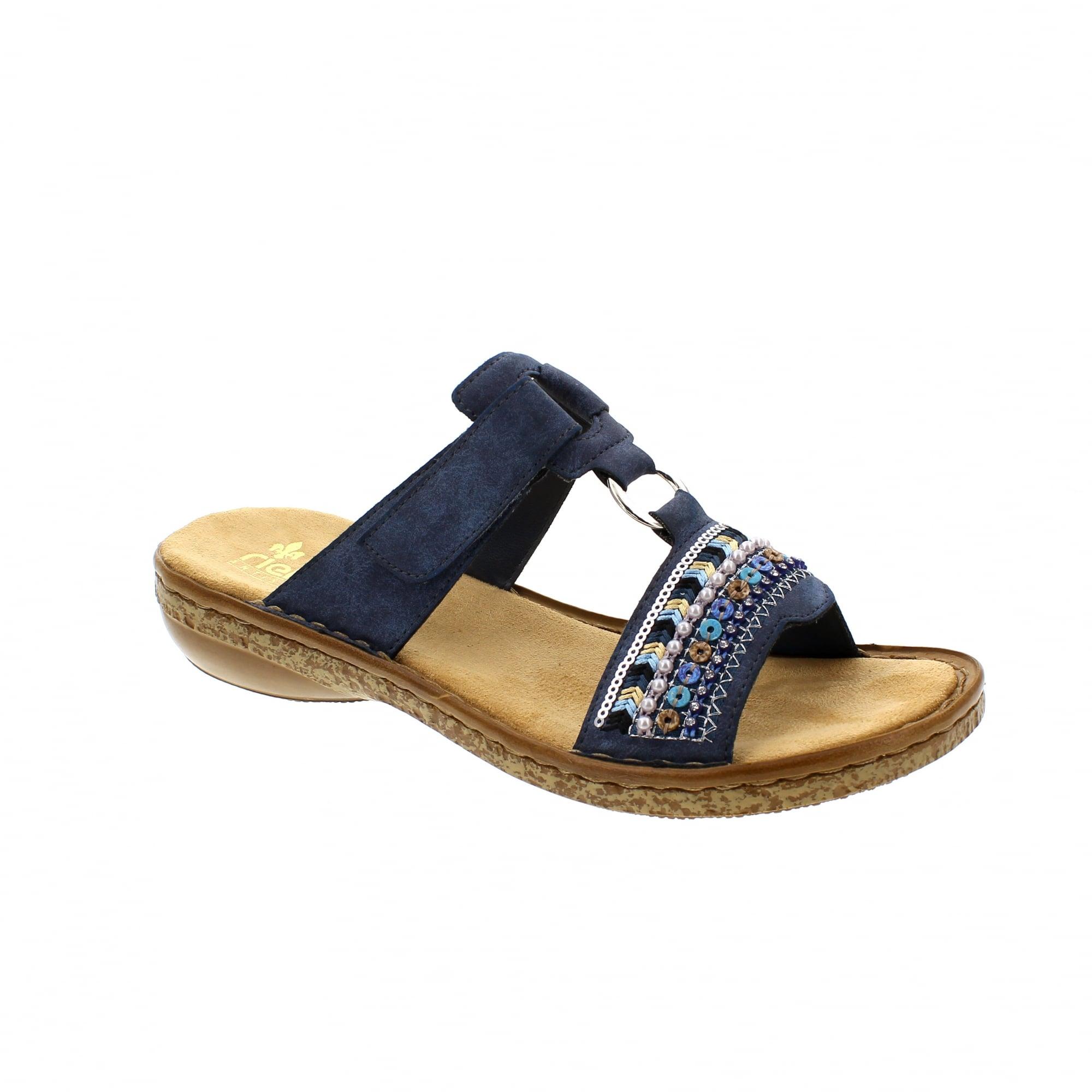 607fee6c8cb Rieker 628M6-14 Navy Blue Womens Mule Sandals