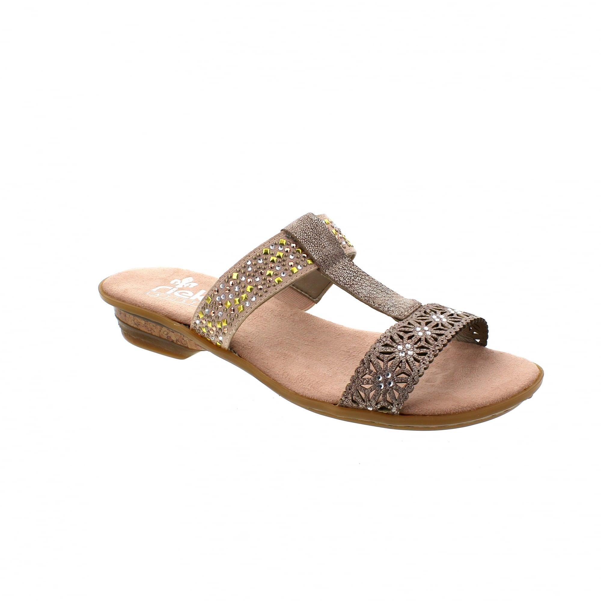 c572aebdda Rieker 63427-31 Pewter Print Womens Mule Sandals | Rogerson Shoes