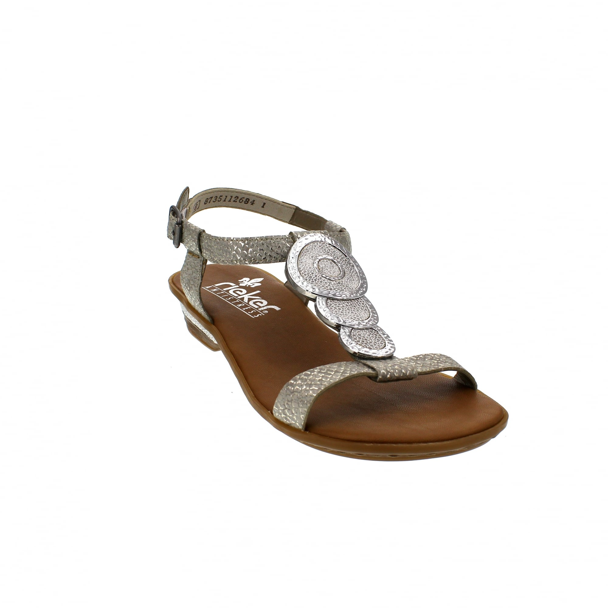 2441936c6f75 Rieker 63478-80 Off White Silver Womens Sandals