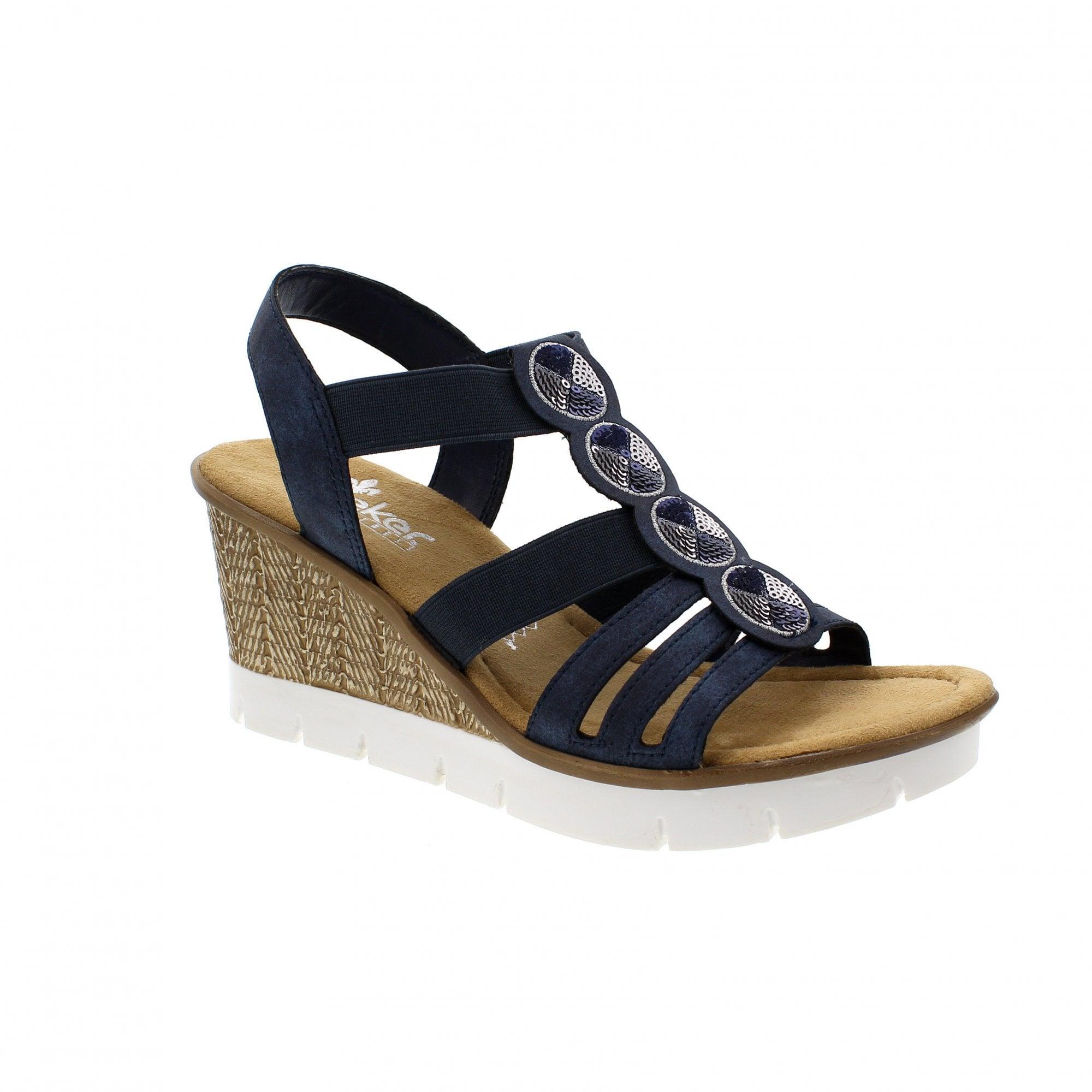 b55c60ee3 Rieker 65515-14 Navy Womens Wedge Sandals