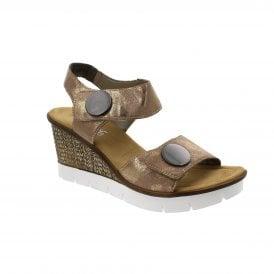 4e8b6887e94 Rieker 65569-31 Rose Metallic Womens Sandals