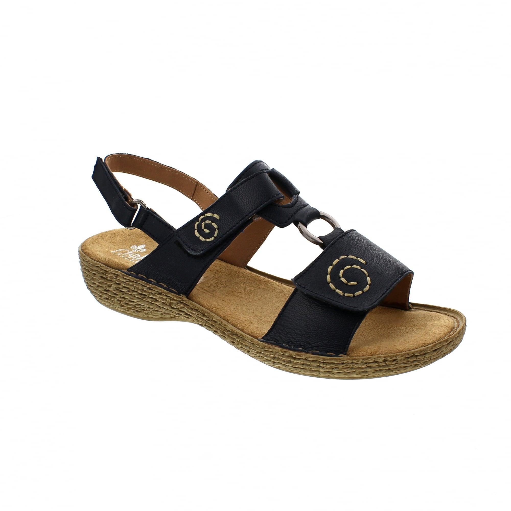 47bafb9dacc4 Rieker 65863-14 Navy Leather Womens Sandals