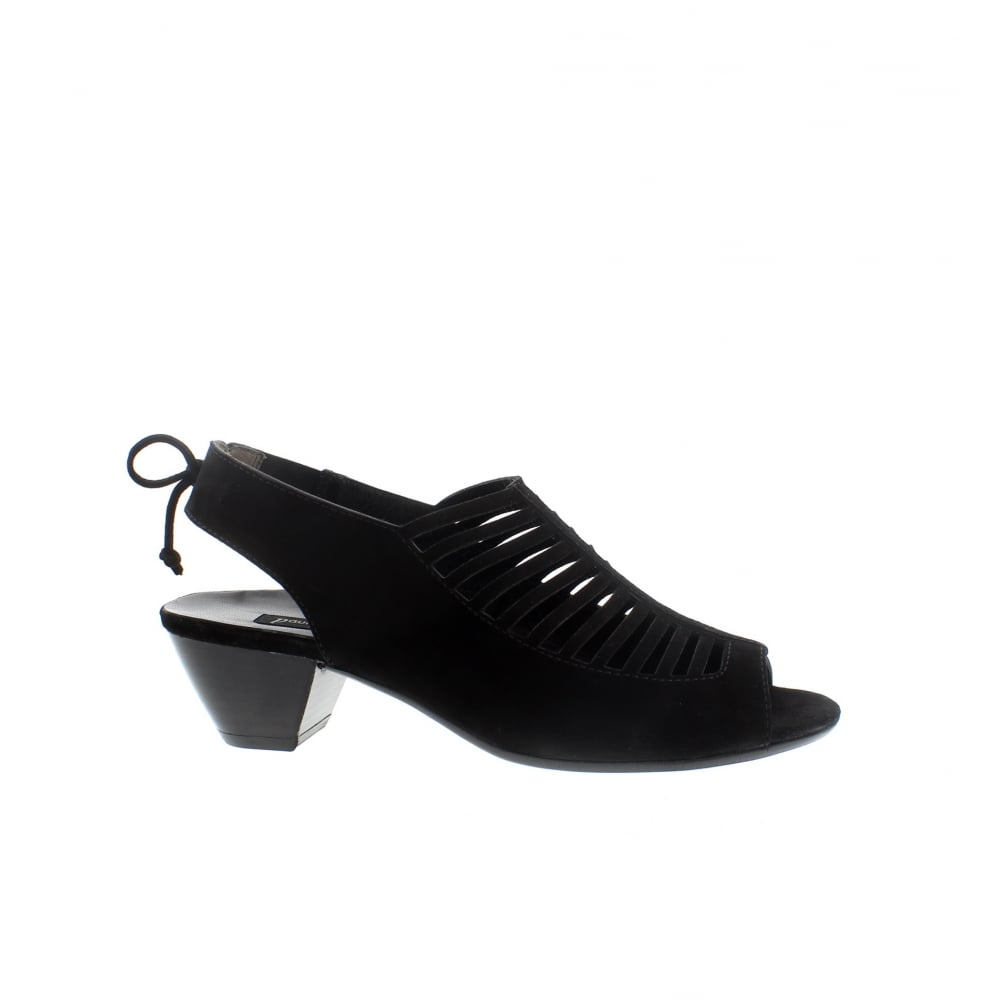 5fe50c851d0c87 Paul Green 6589-414 Black Suede Peep Toe Sandals