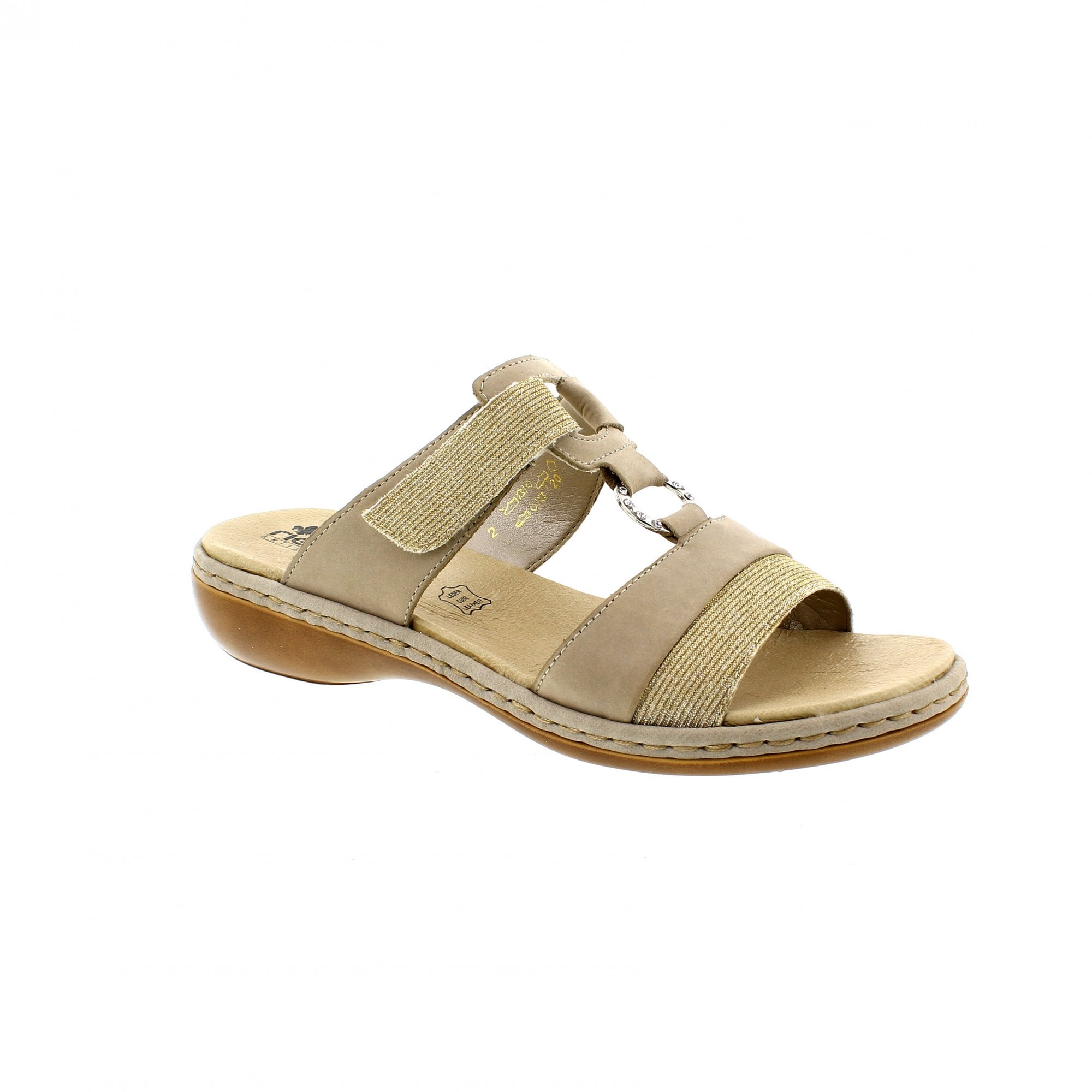 Rieker V3281 80 PewterOff White Womens Mule Sandals