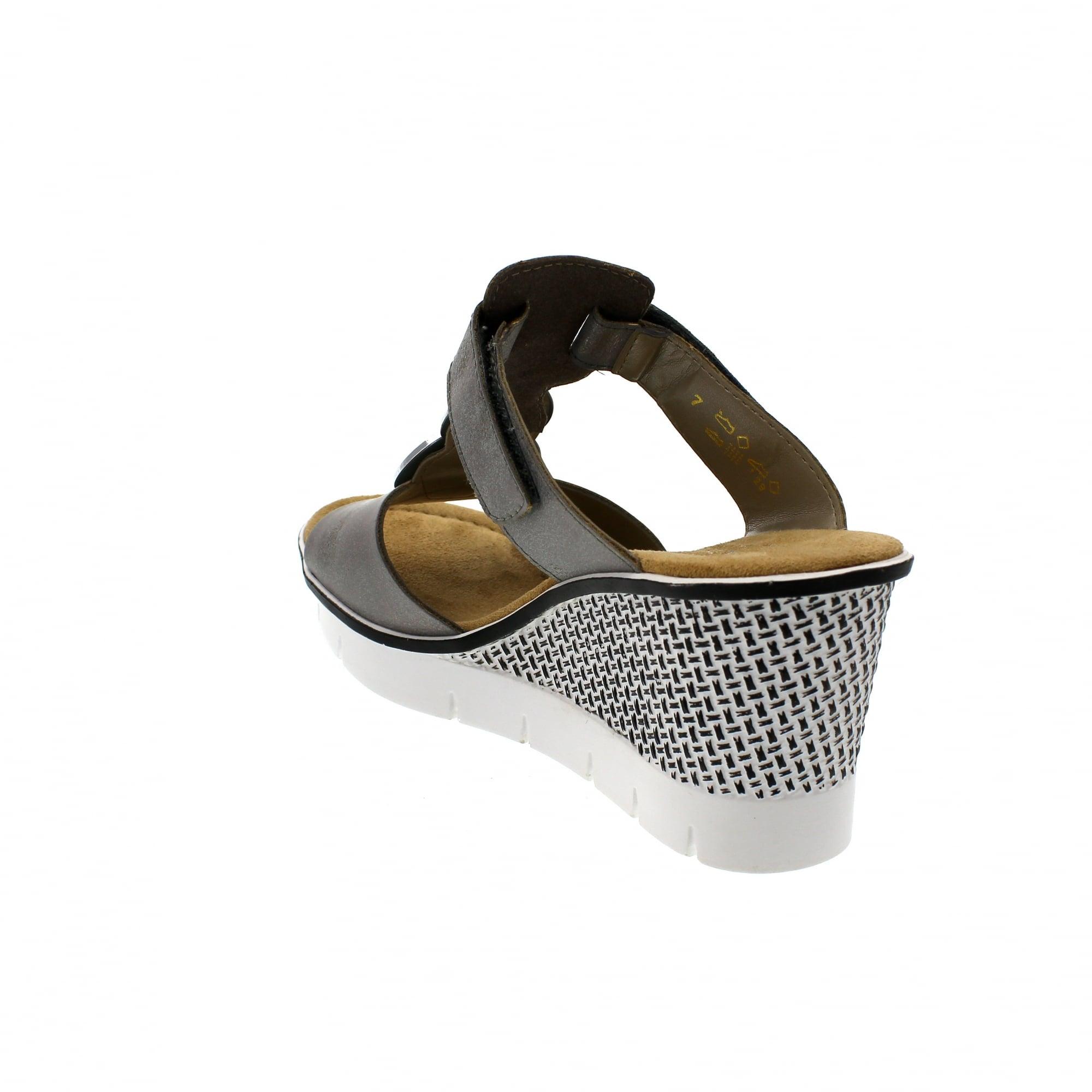 59d475bdb62 Rieker 68563-40 Pewter Denim Womens Mule Sandals