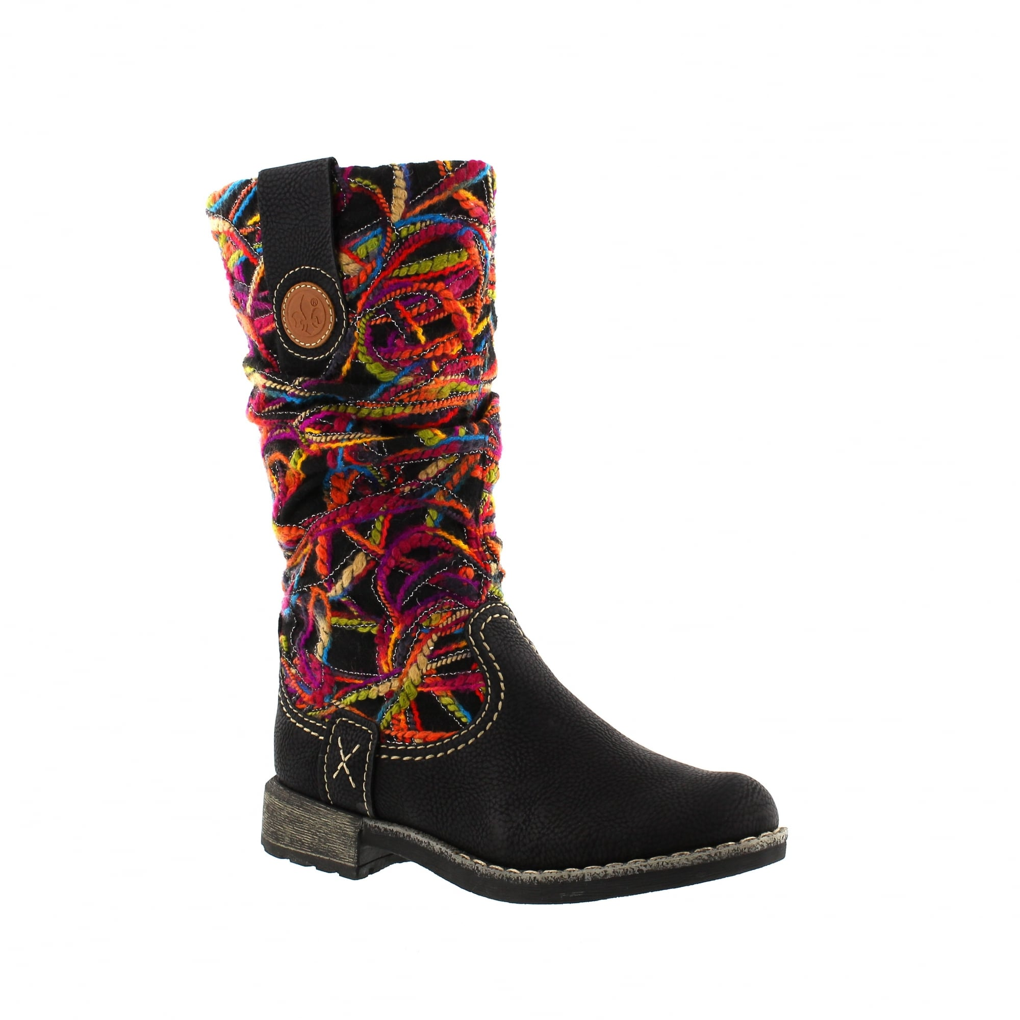 3d2209125ed Rieker 74663-00 Black Fuchsia Womens Mid Calf Boots