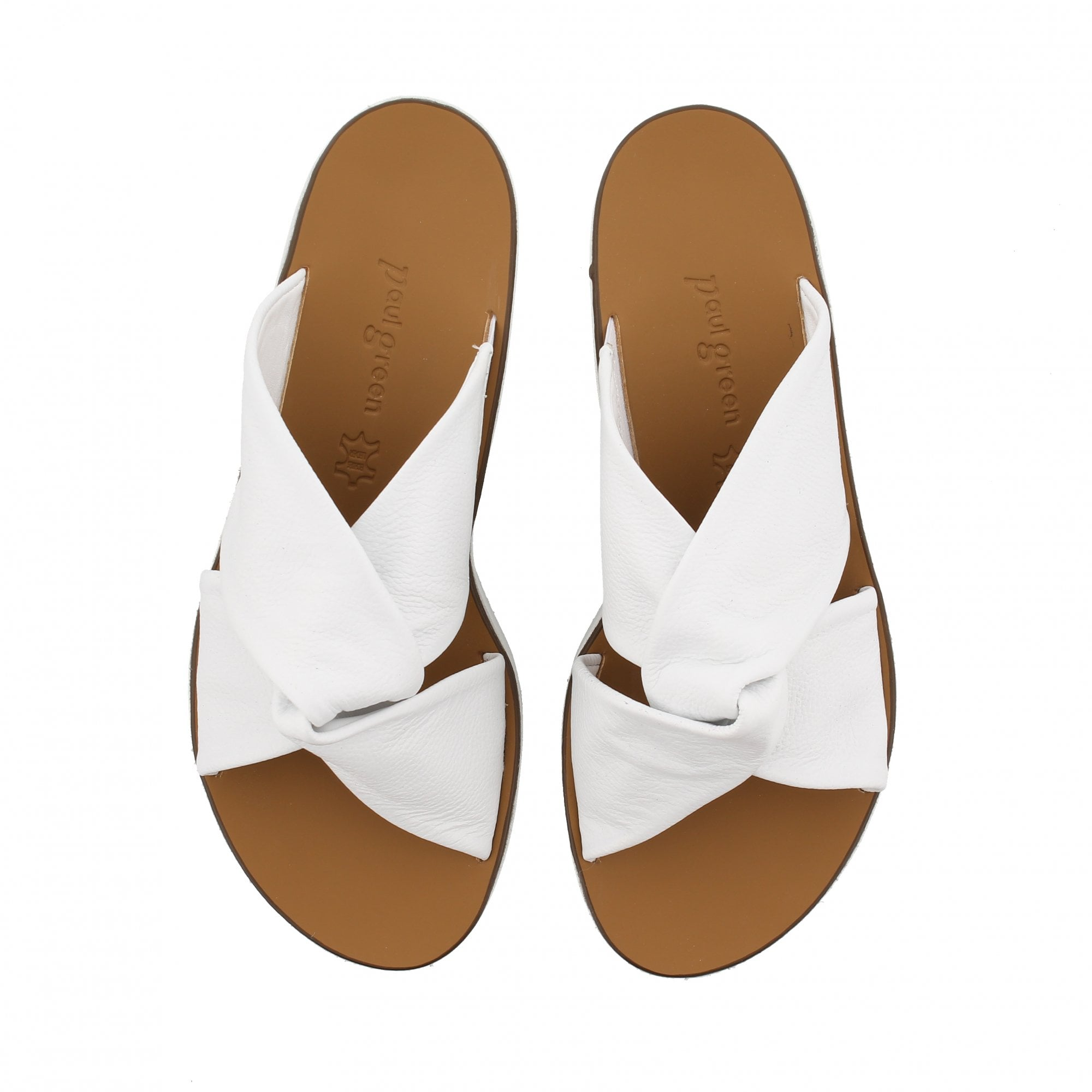 Paul Green 7474-074 White Leather Mule