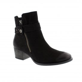 a8ff2fc7cbae7 Paul Green 9264-003 Black Nubuck Womens Ankle Boots | Rogerson Shoes