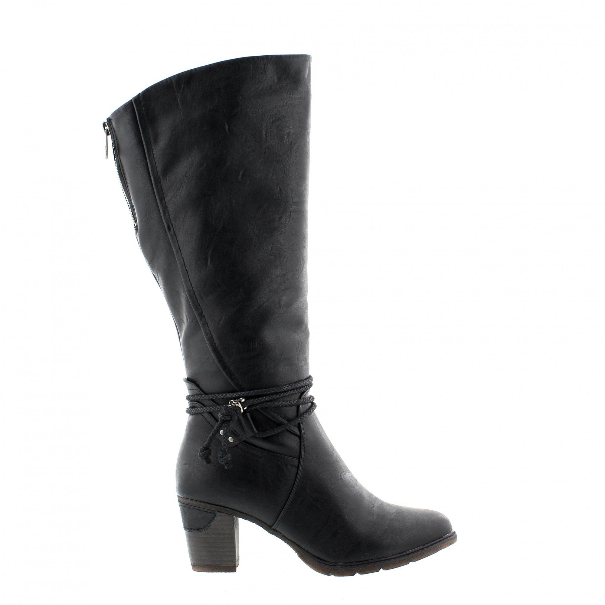 Rieker 96059-00 Black Womens Knee High
