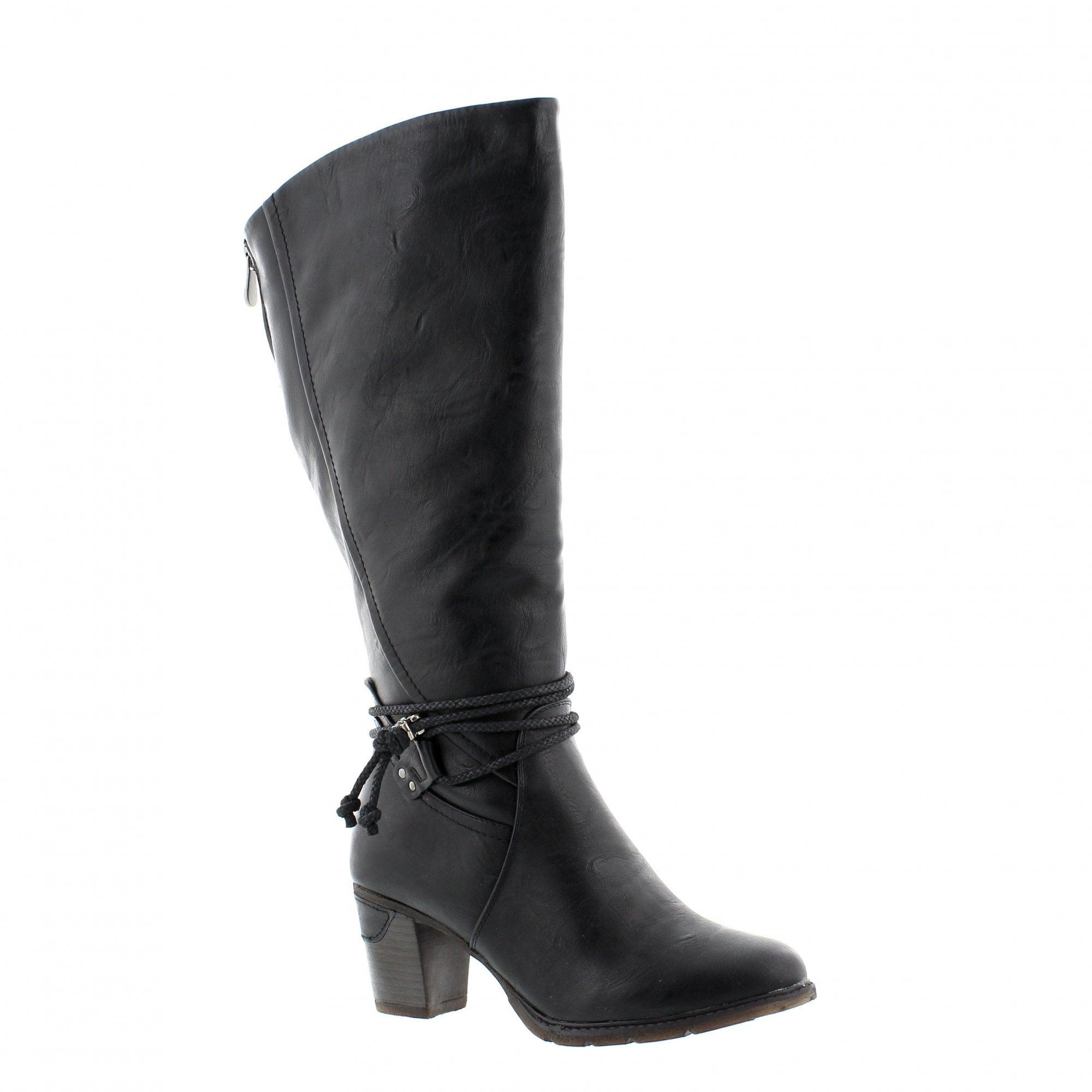 a50e2f57ff38cf Rieker 96059-00 Black Womens Knee High Boots