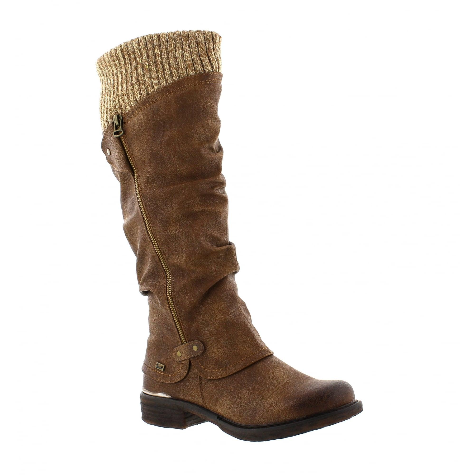 06aa968f83f7cd Rieker 98956-25 Brown Womens Knee High Boots