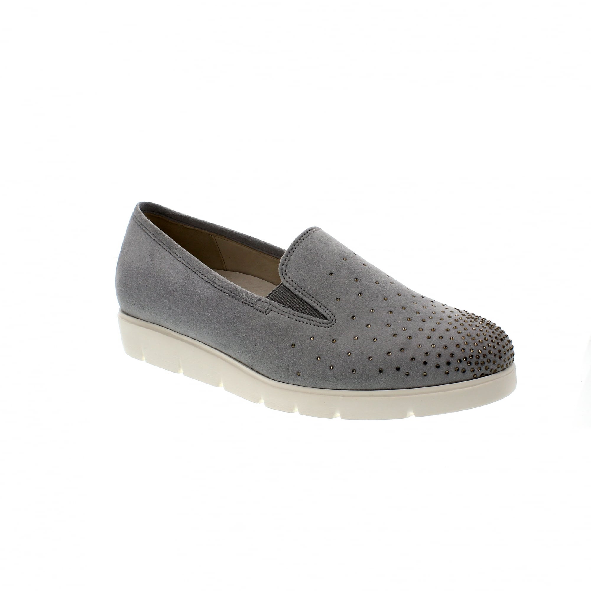 f61d8b30cbcd5 Gabor Angela 82-581-40 Grey Suede Slip On Trainers | Rogerson Shoes
