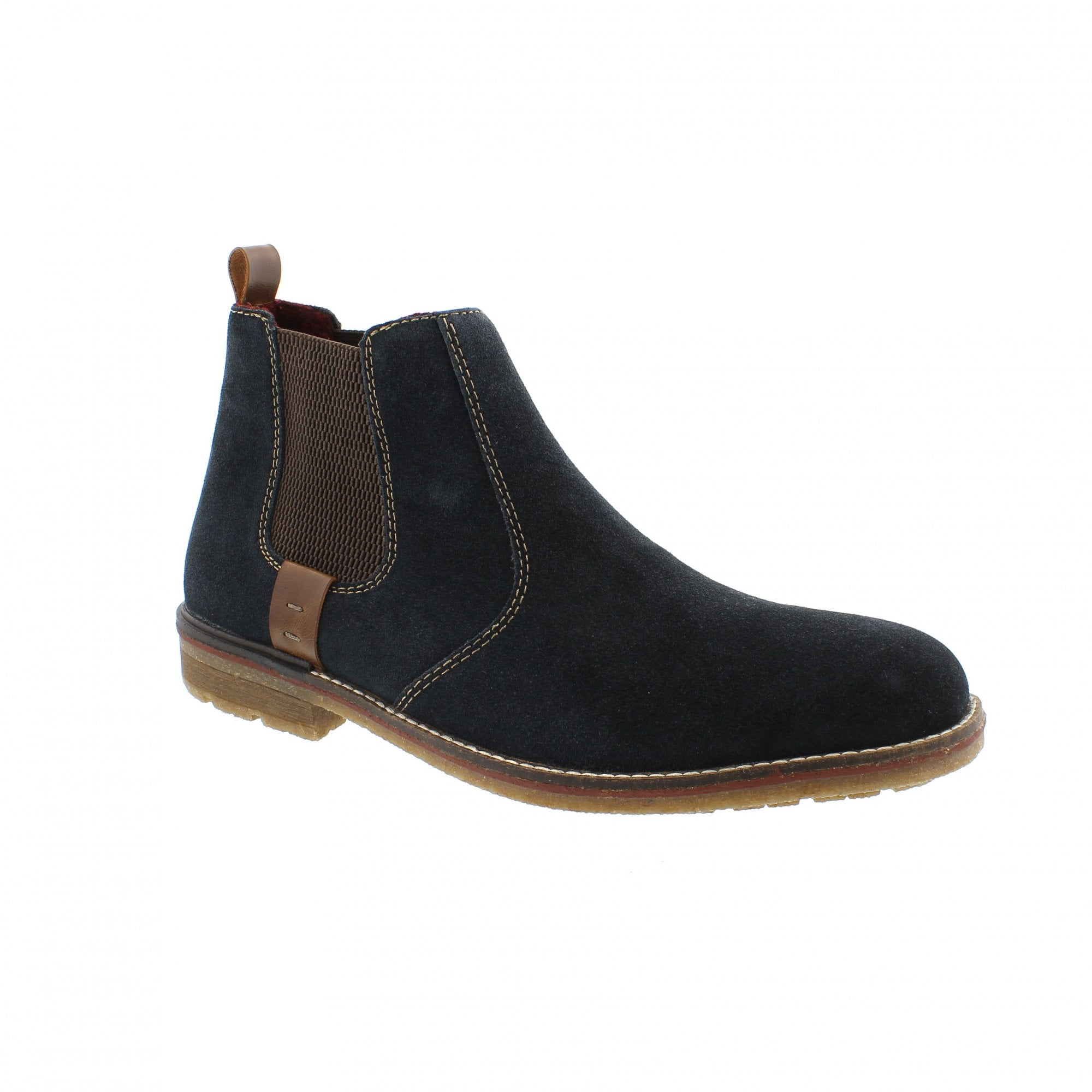 shop new product clearance sale Rieker F1352-14 Navy/Tan Mens Chelsea Boots | Rogerson Shoes