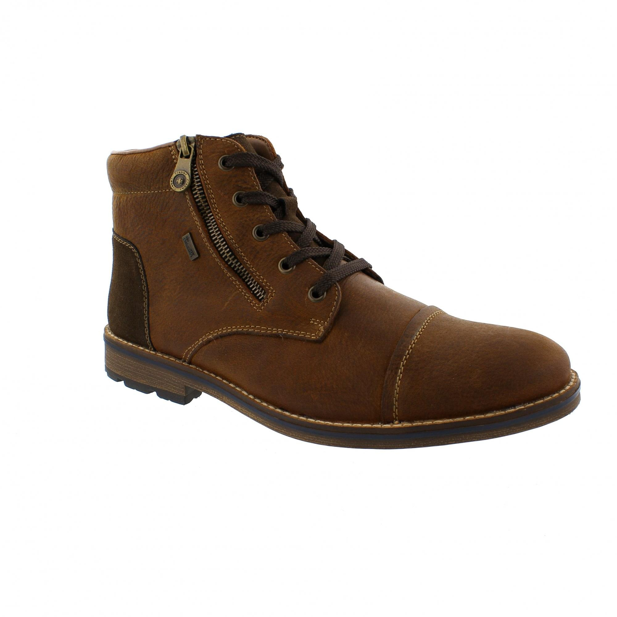38bf527e56 Rieker F5530-25 Brown Leather Warm Lined Mens Ankle Boots | Rogerson ...