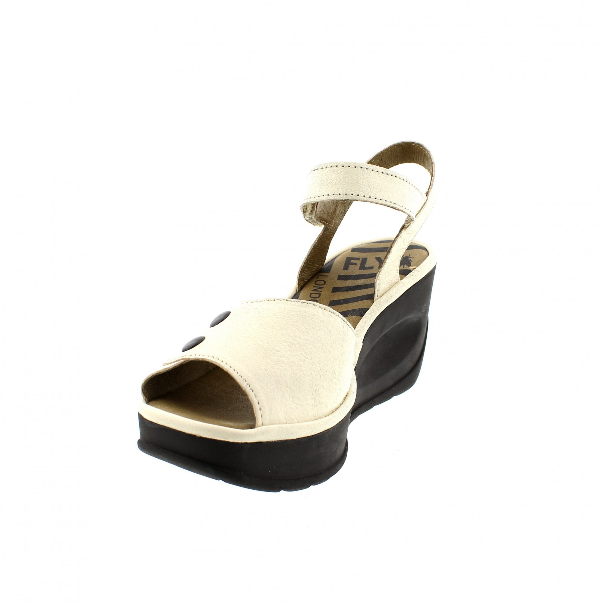e00e3508 Fly London Jemi Wedge Sandals Off White Leather | Rogerson Shoes