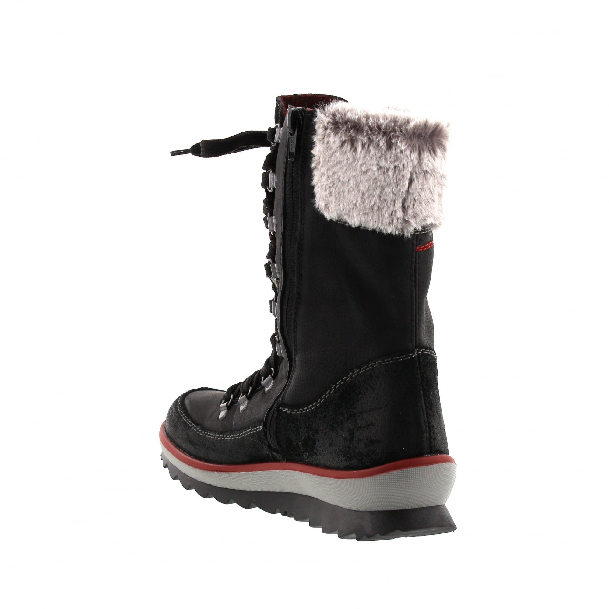 02f65850e1d Rieker K4372-01 Black Red Womens Boots