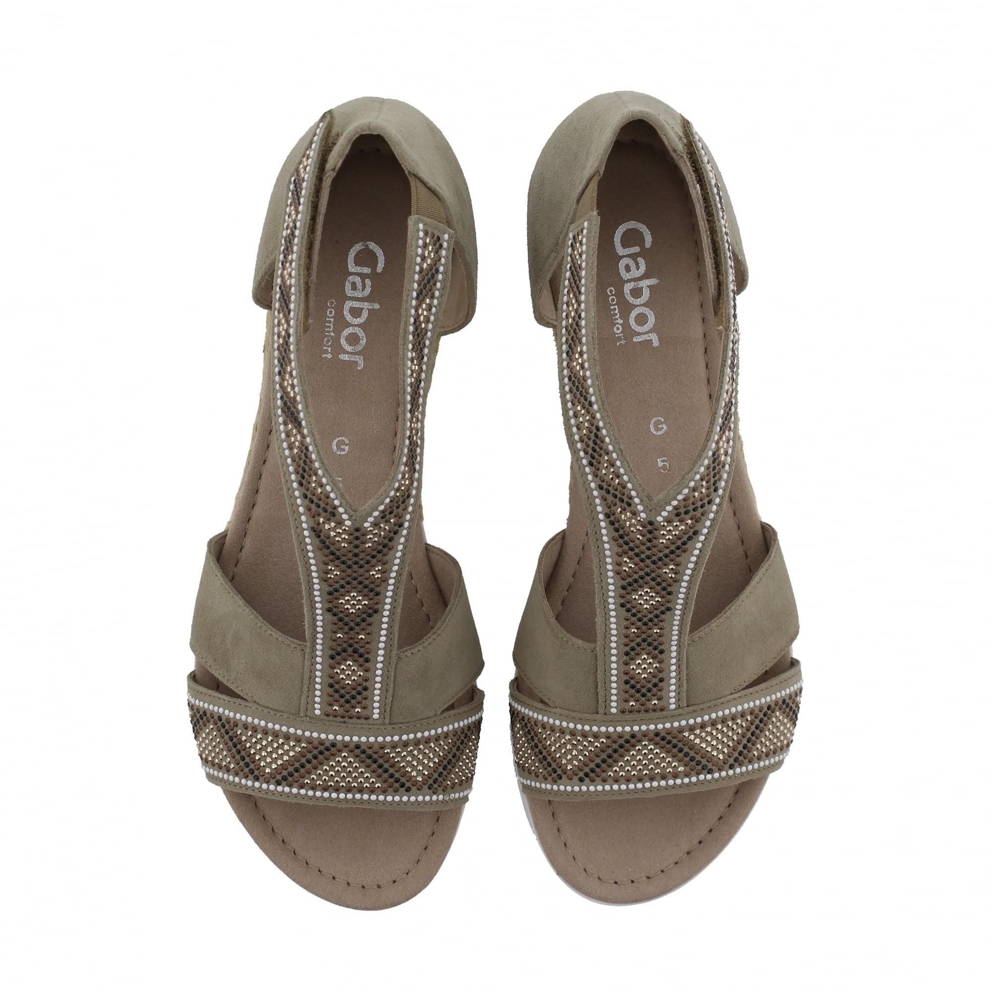 77fc9a90b640 Gabor Kara 82-713-24 Taupe Suede Womens Sandals