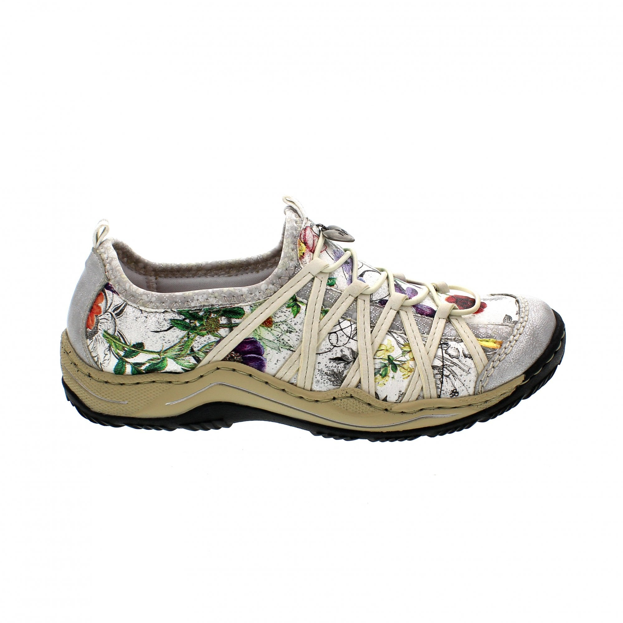 1bf5171d0 Rieker L0559-81 Off White/Silver Womens Slip On Trainers | Rogerson ...