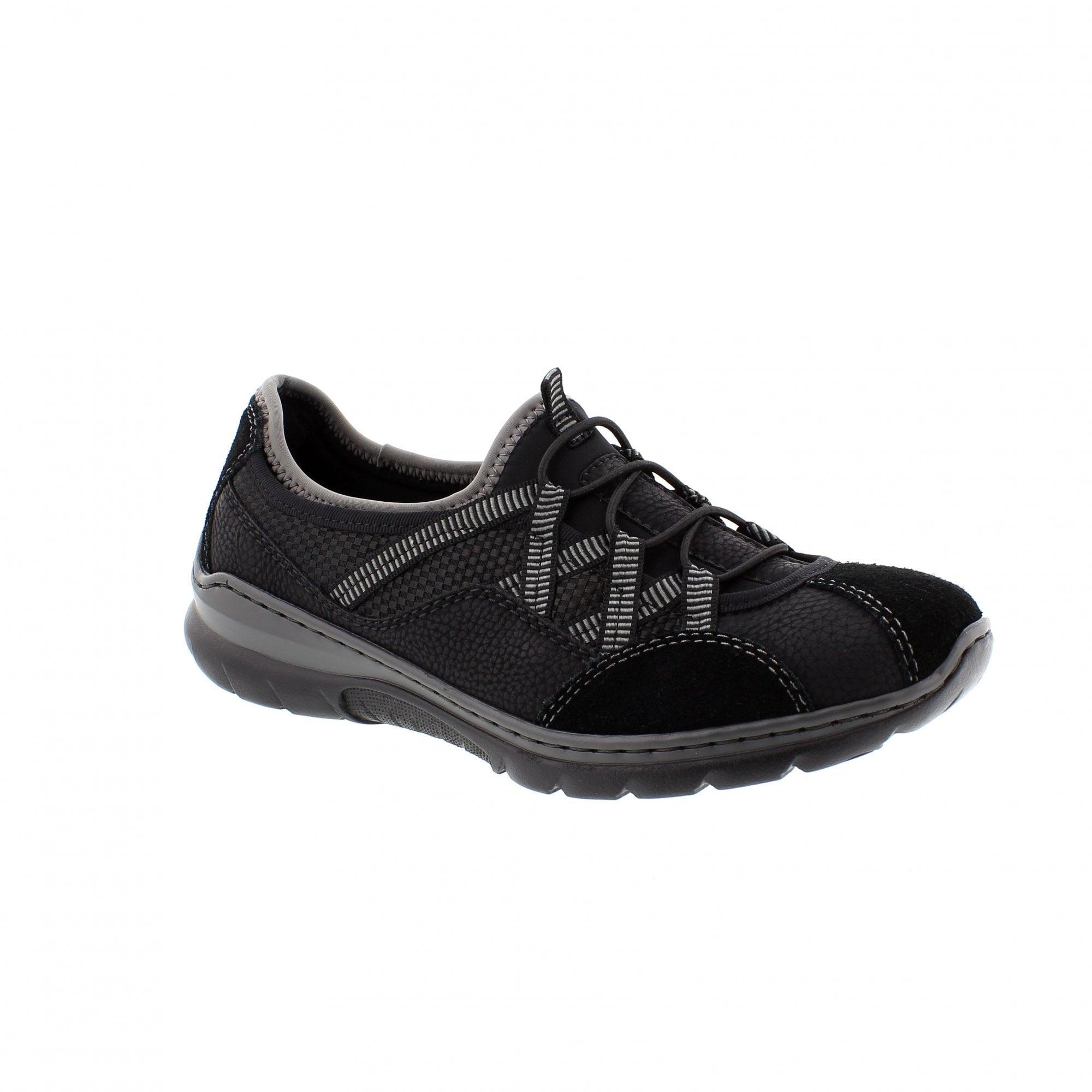 Rieker L3251-00 Black/Grey Womens Slip
