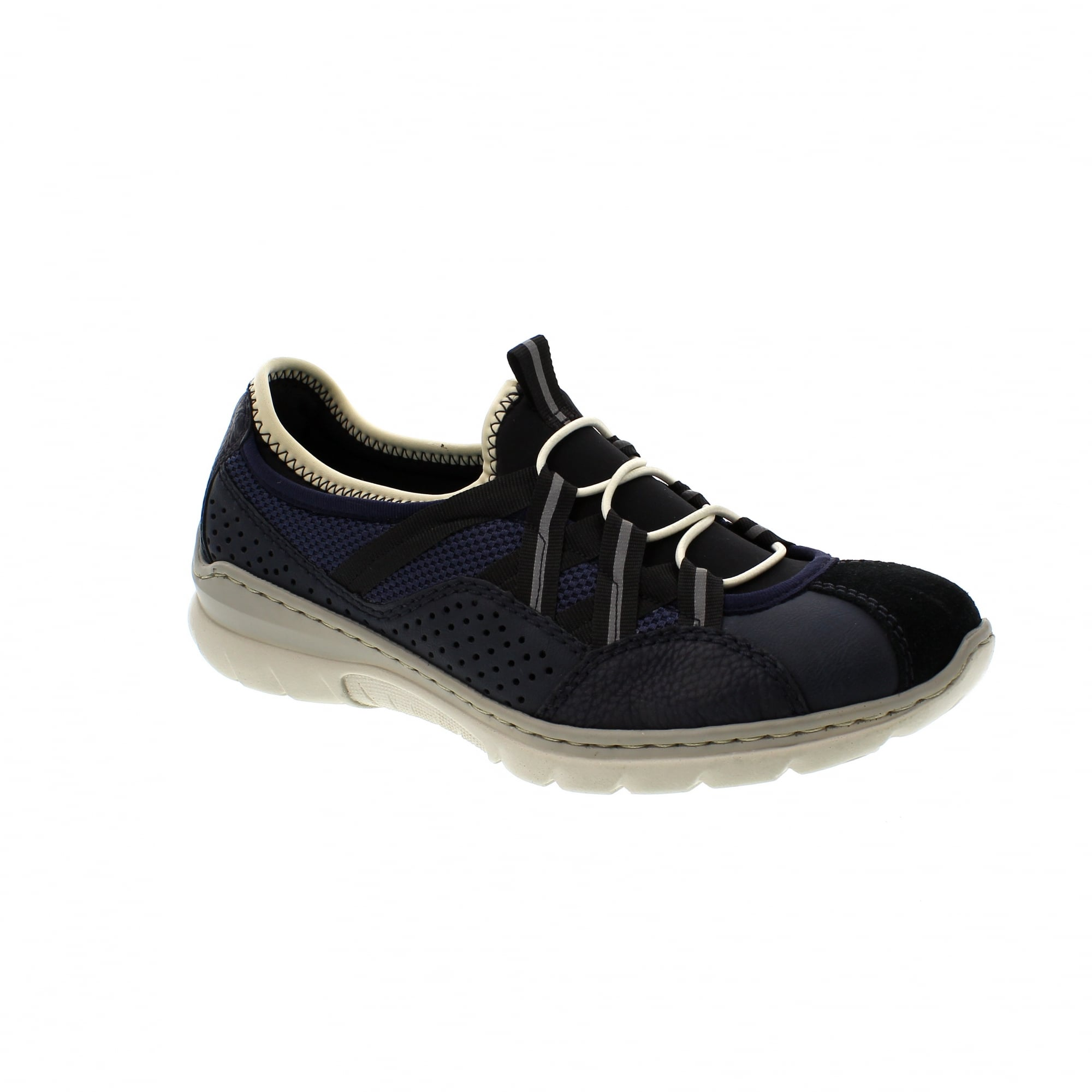 2538078574 Rieker L3256-14 Navy Suede Womens Slip On Trainers