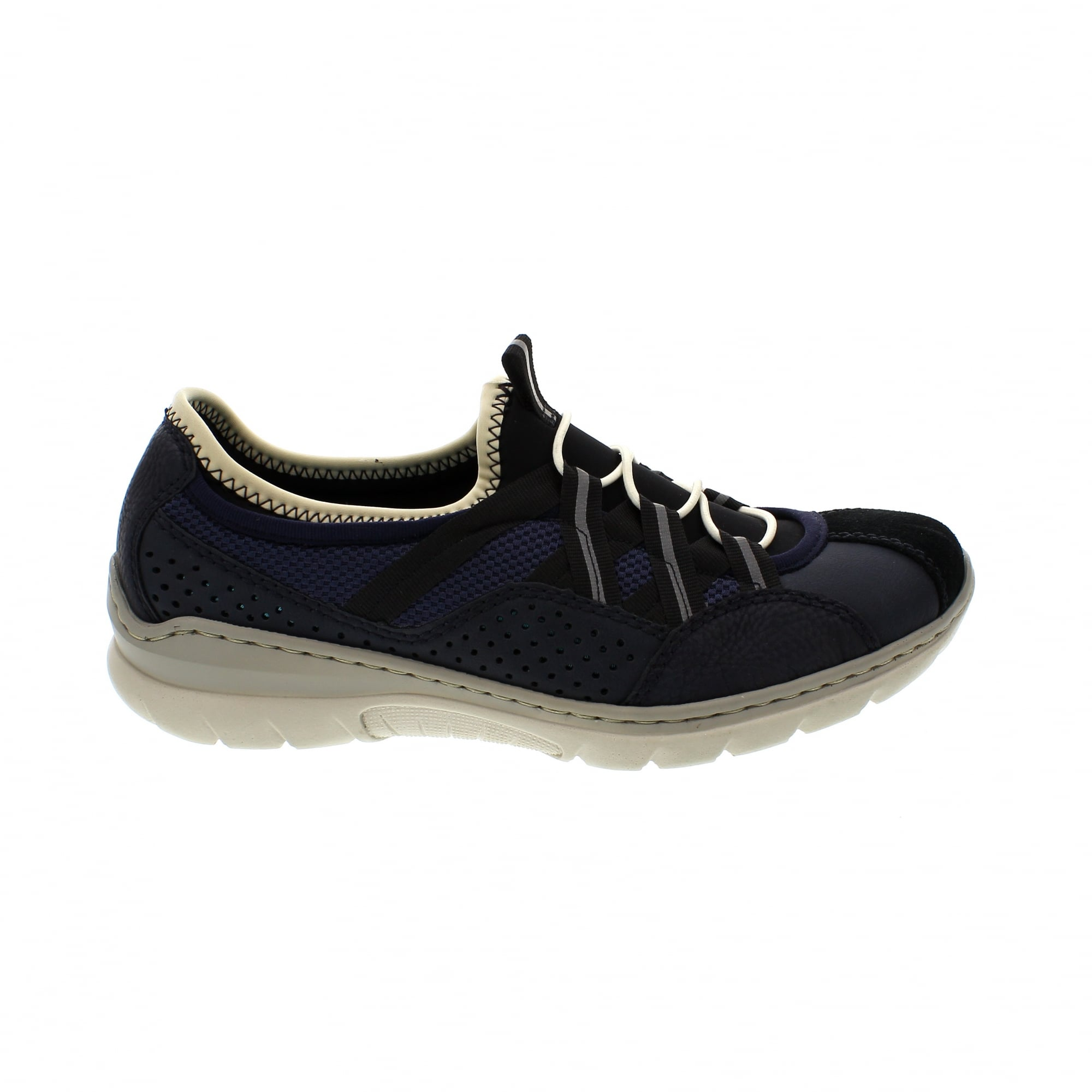 c3d82538626 Rieker L3256-14 Navy Suede Womens Slip On Trainers | Rogerson Shoes
