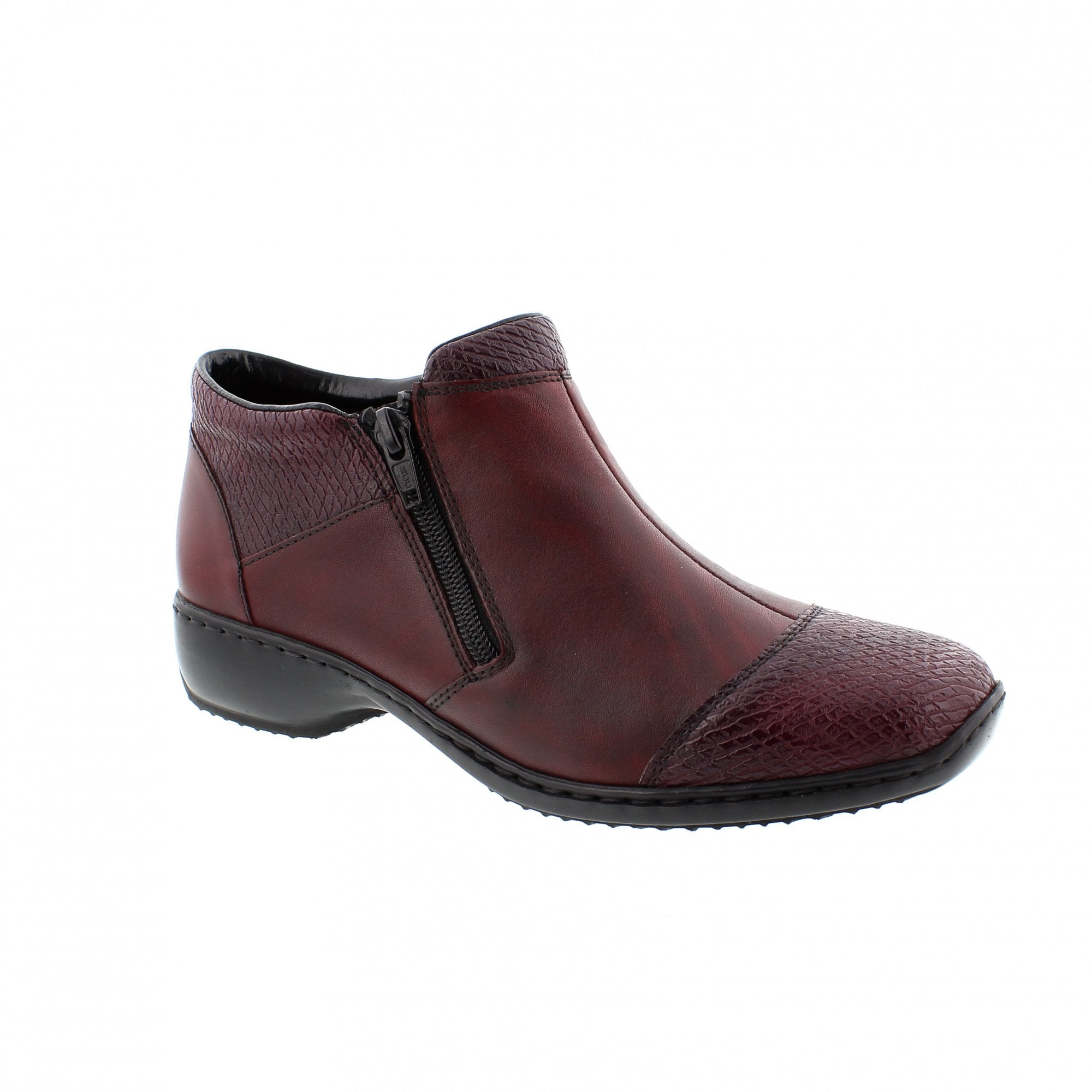 93675b8574e Rieker L3879-35 Burgundy Leather Womens Ankle Boots | Rogerson Shoes
