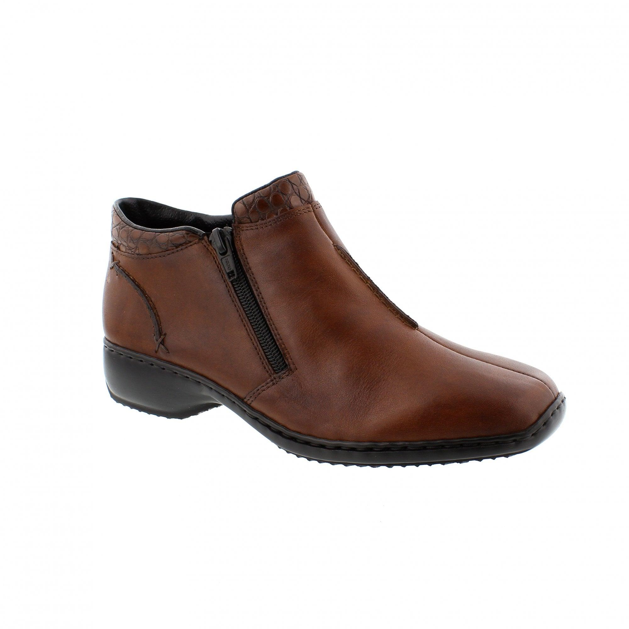 1d60e3fc6 Rieker L3882-24 Tan Leather Womens Ankle Boots | Rogerson Shoes