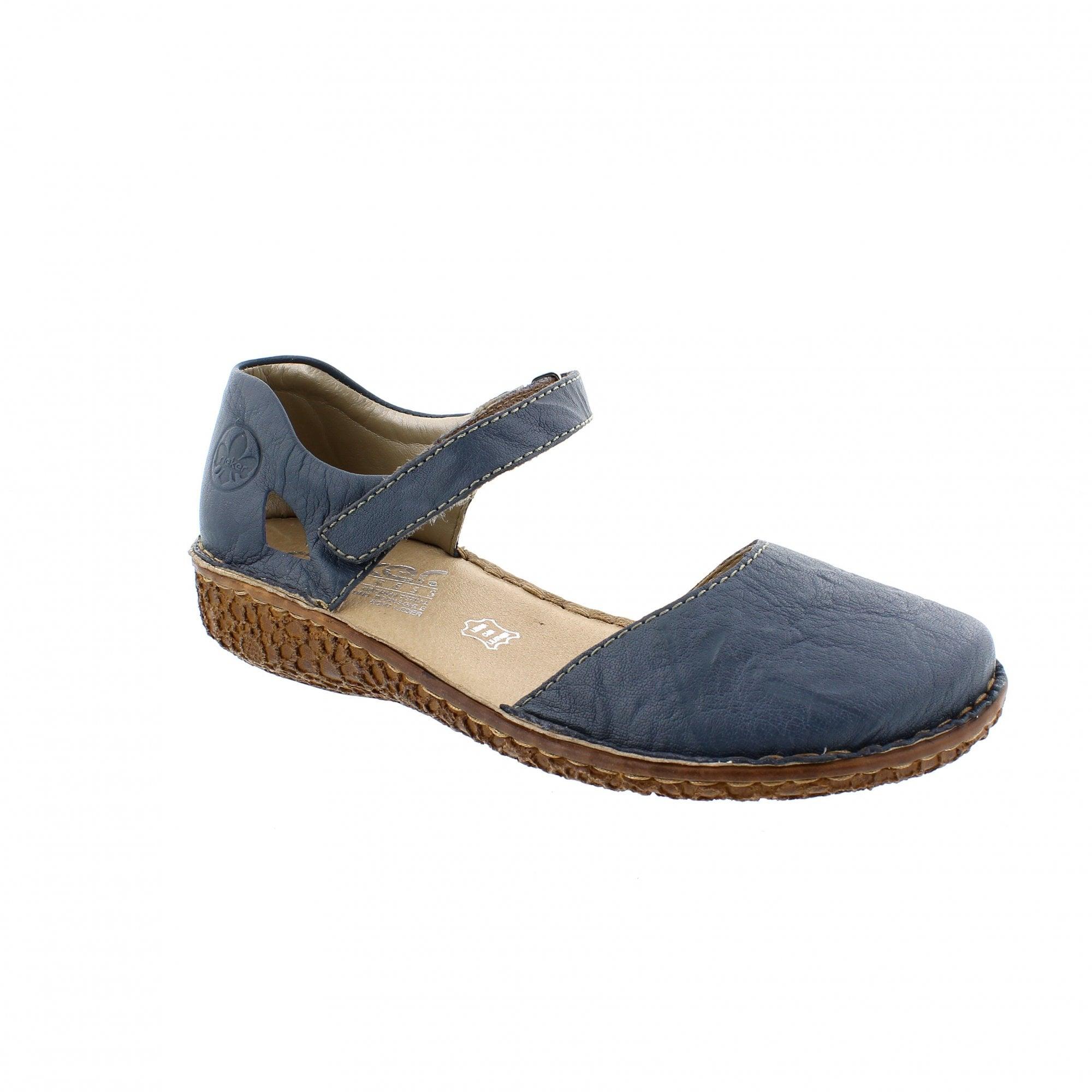 c5613cea74 Rieker M0969-13 Denim Leather Womens Mary Jane Bar Shoes