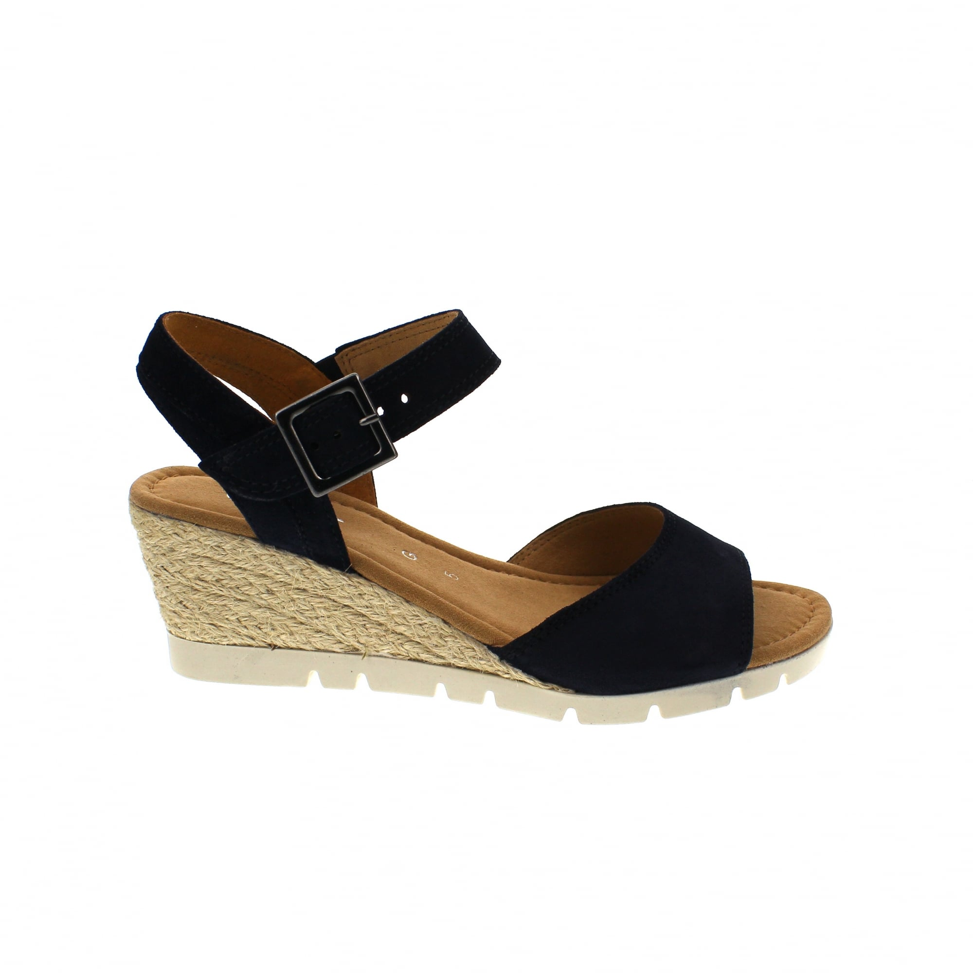 6f4dad9efea Gabor Nieve 22-842-46 Navy Suede Womens Wedge Sandals   Rogerson Shoes