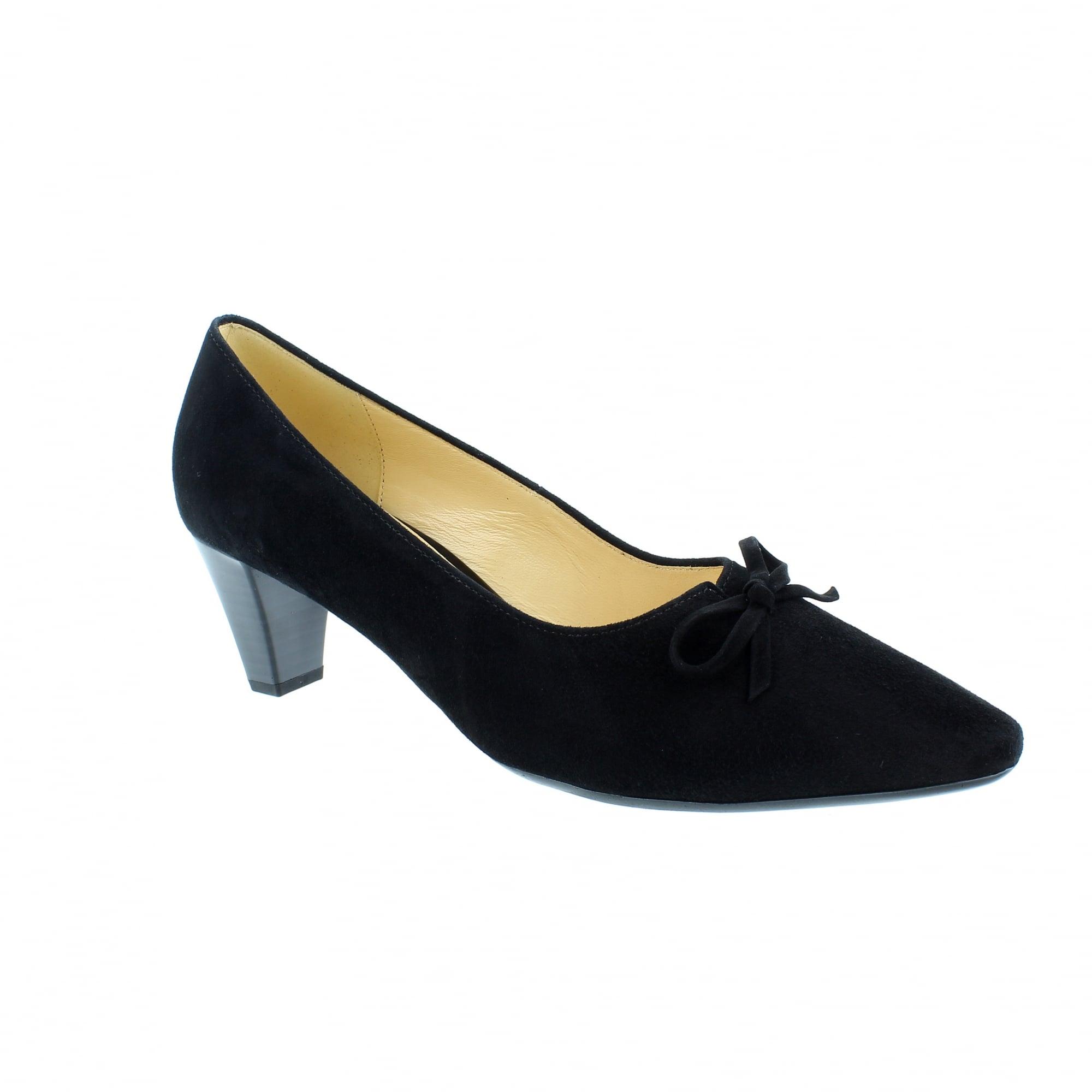 b387a71e0e7 Gabor Pearl 85-147-17 Black Suede Womens Court Shoes | Rogerson Shoes