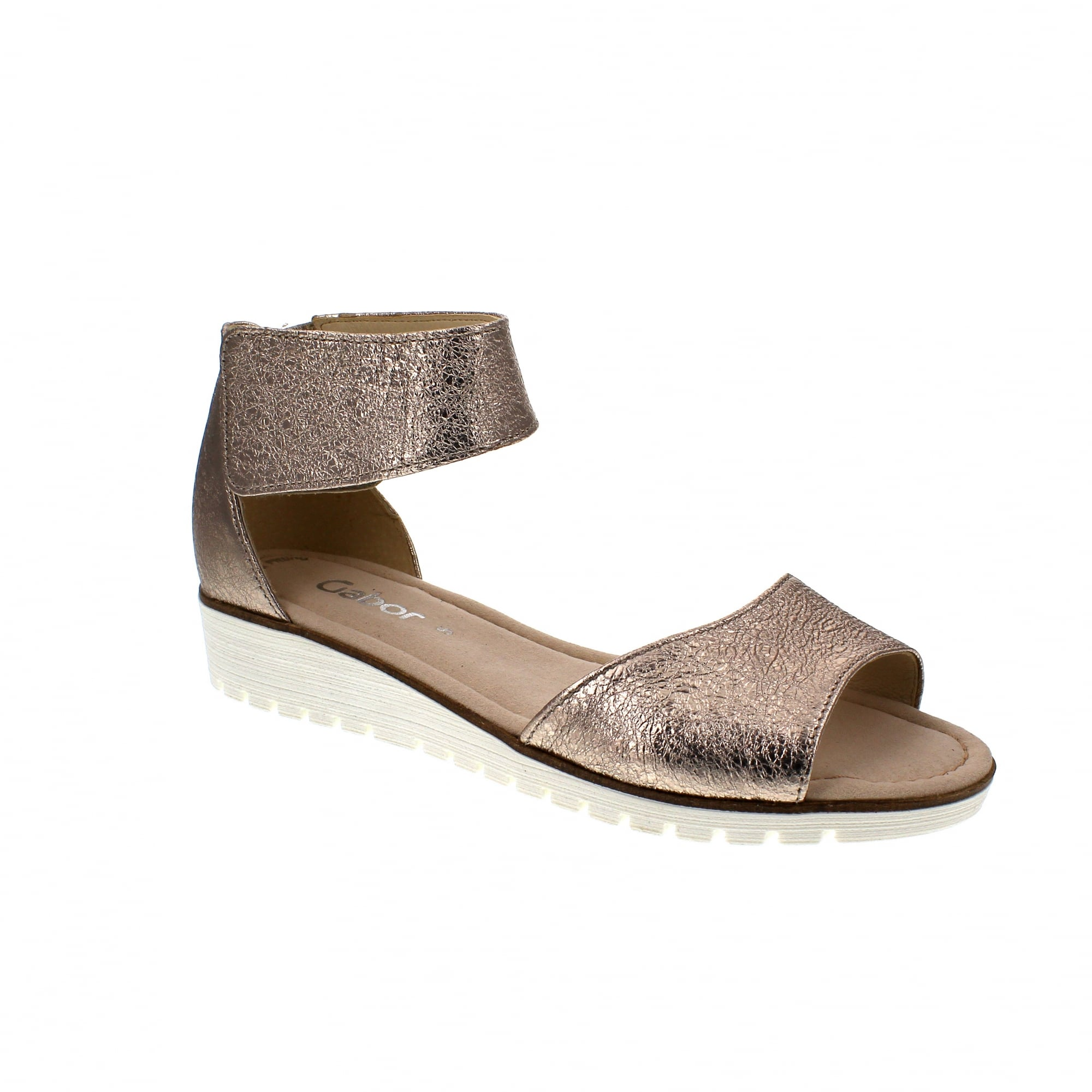 4f2a904267d9 Gabor Penny 84-570-62 Pewter Leather Womens Sandals