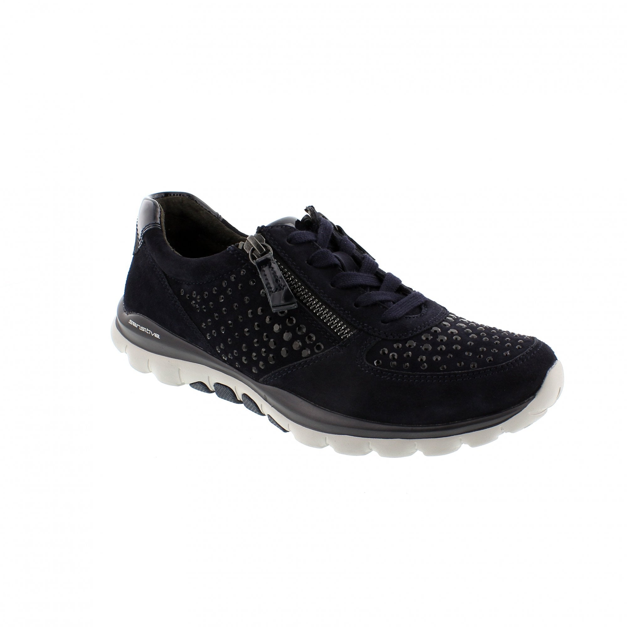 b549c48ca4d25 Gabor Fantastic 96-968-86 Navy Suede Womens Trainers   Rogerson Shoes
