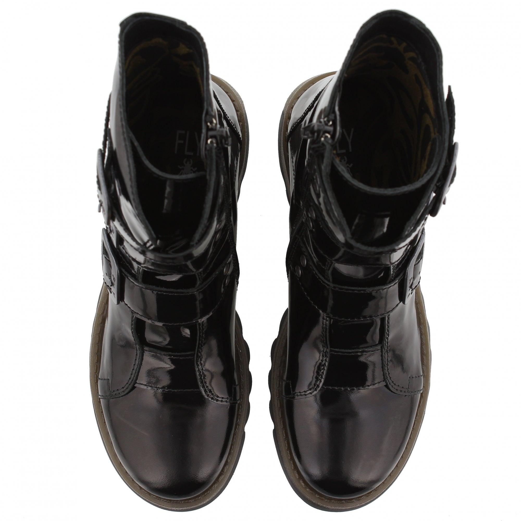 5b8781c7 Fly London Scop Ankle Boots Black Patent | Rogerson Shoes
