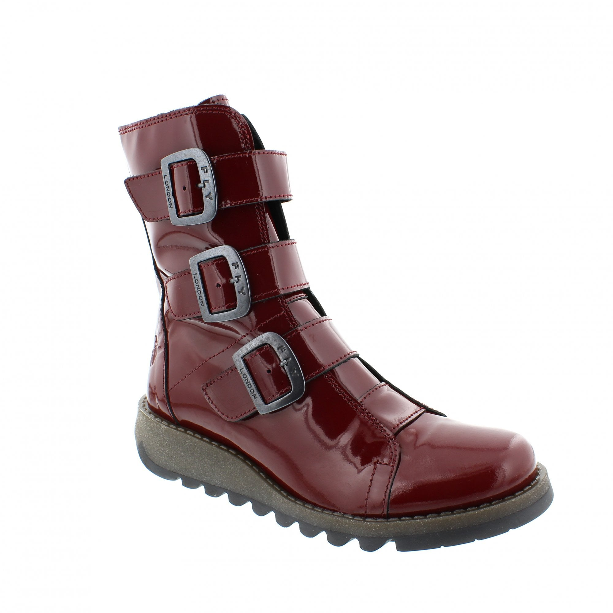 Fly London Scop Ankle Boots Red Patent