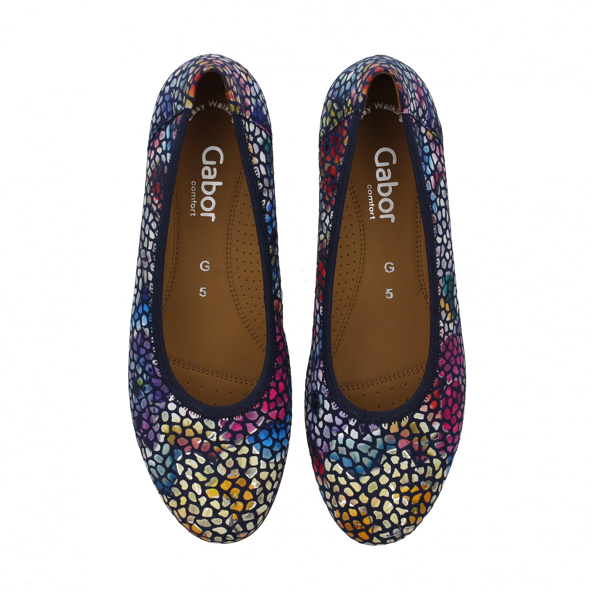 Gabor Splash 82 620 16 Navy Print Womens Pumps   Rogerson Shoes