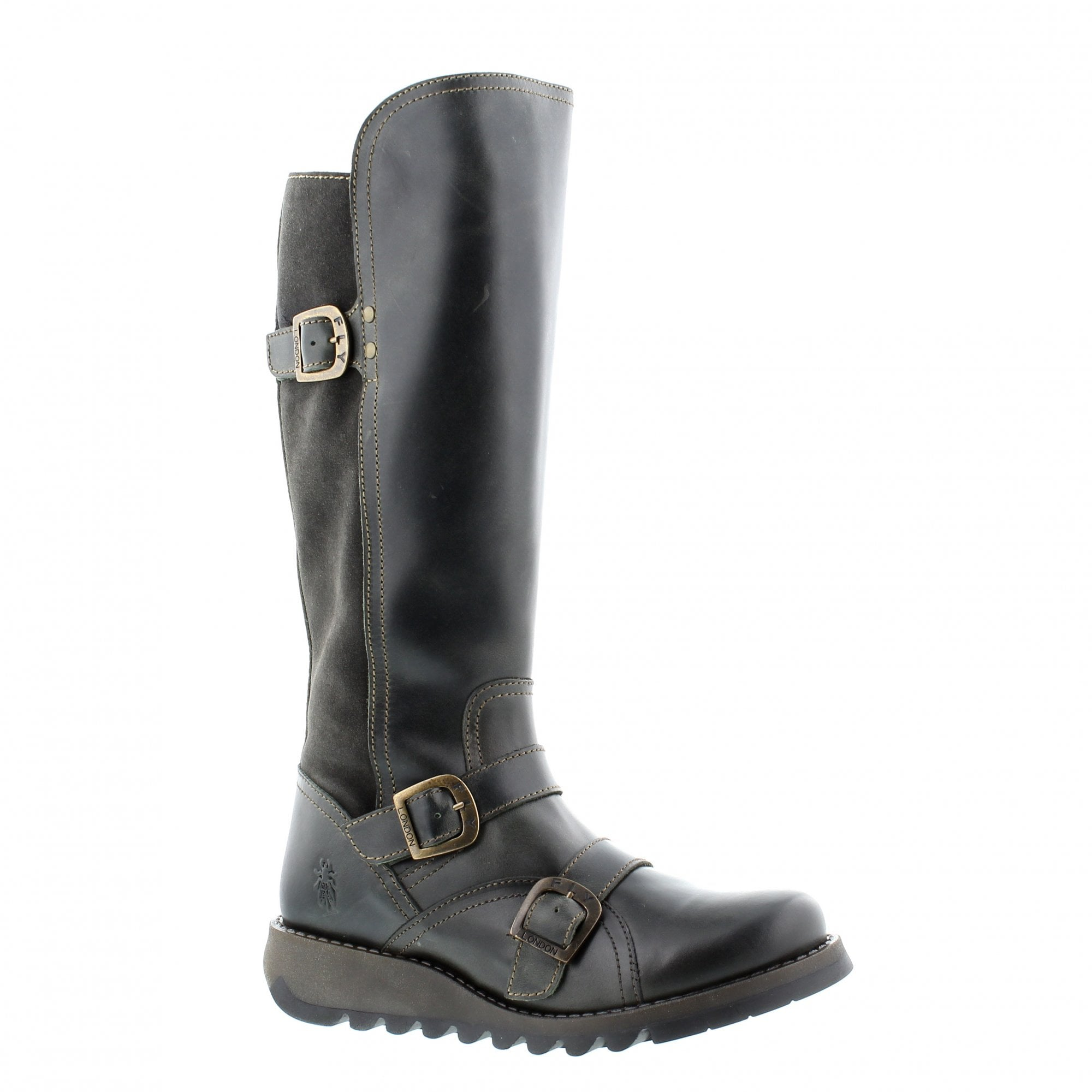db0ddc6e54b Fly London Suda Knee High Boots Grey Leather Rogerson Shoes