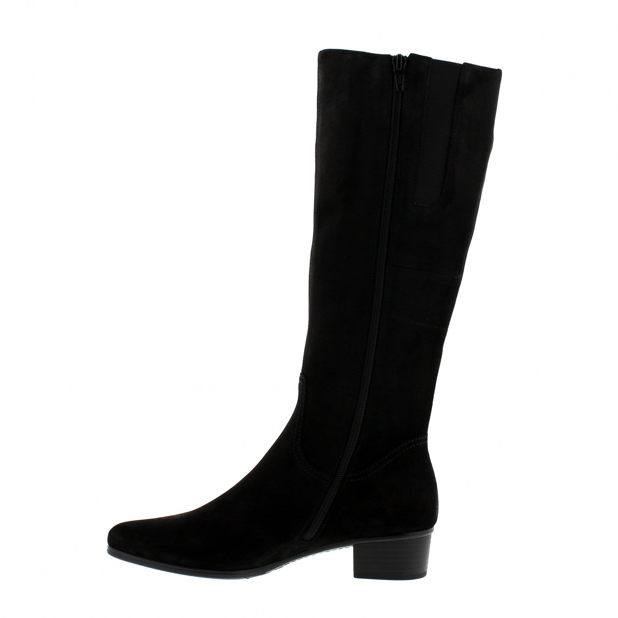 098e101db2d066 Gabor Toye S-Fit 95-608-17 Black Suede Knee High Boots